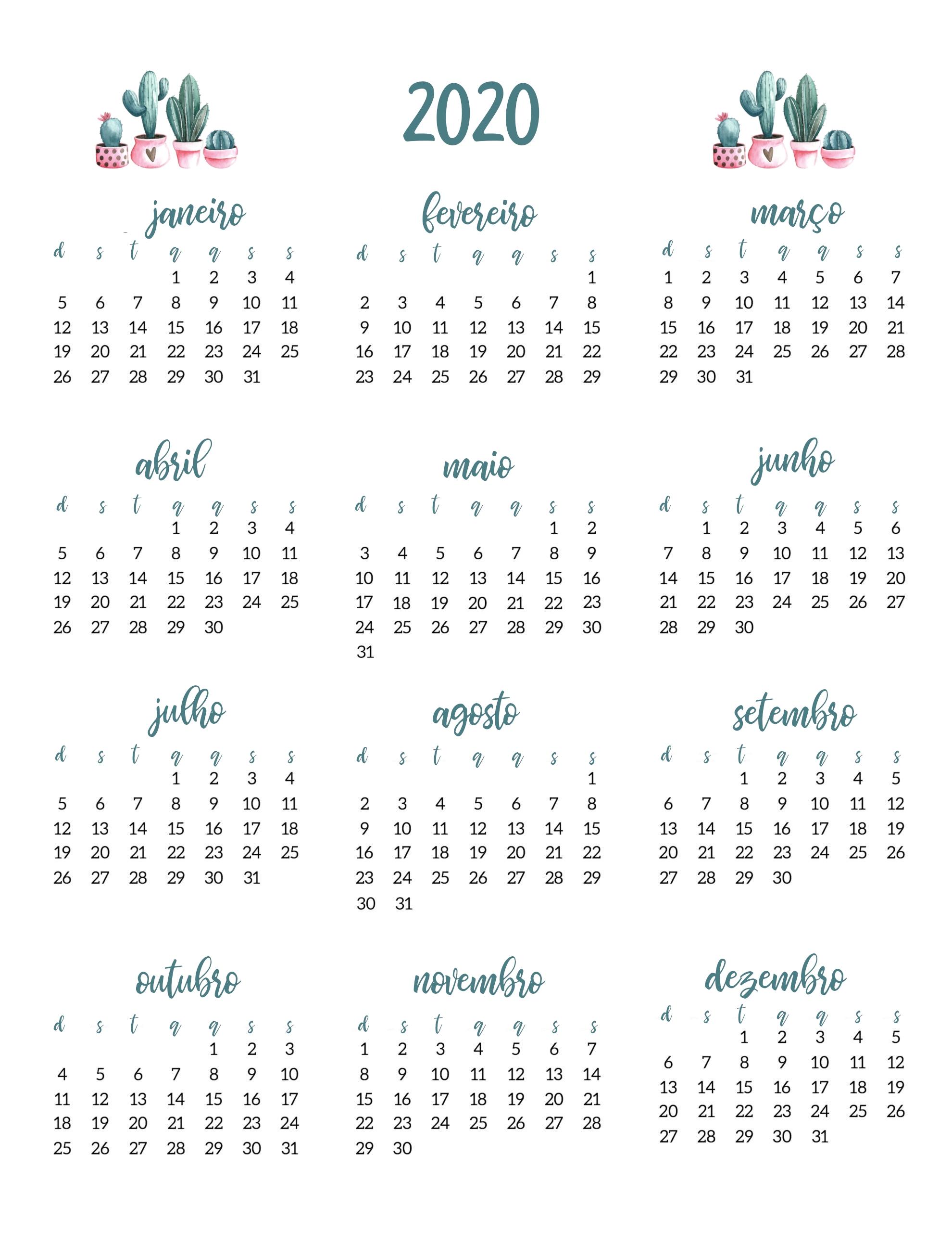 Planner 2020 Cactos Verde Rosa Digital Pdf Calendário