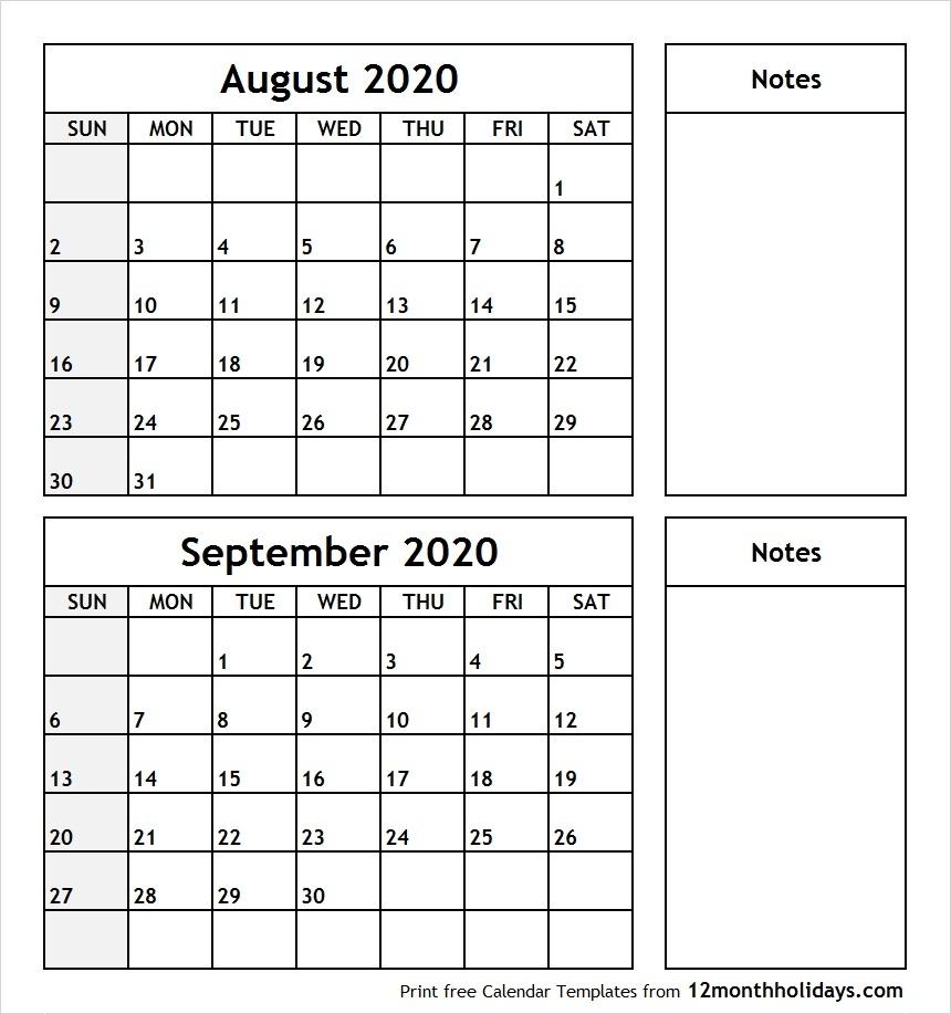 Print August September 2020 Calendar Template | 2 Month Calendar