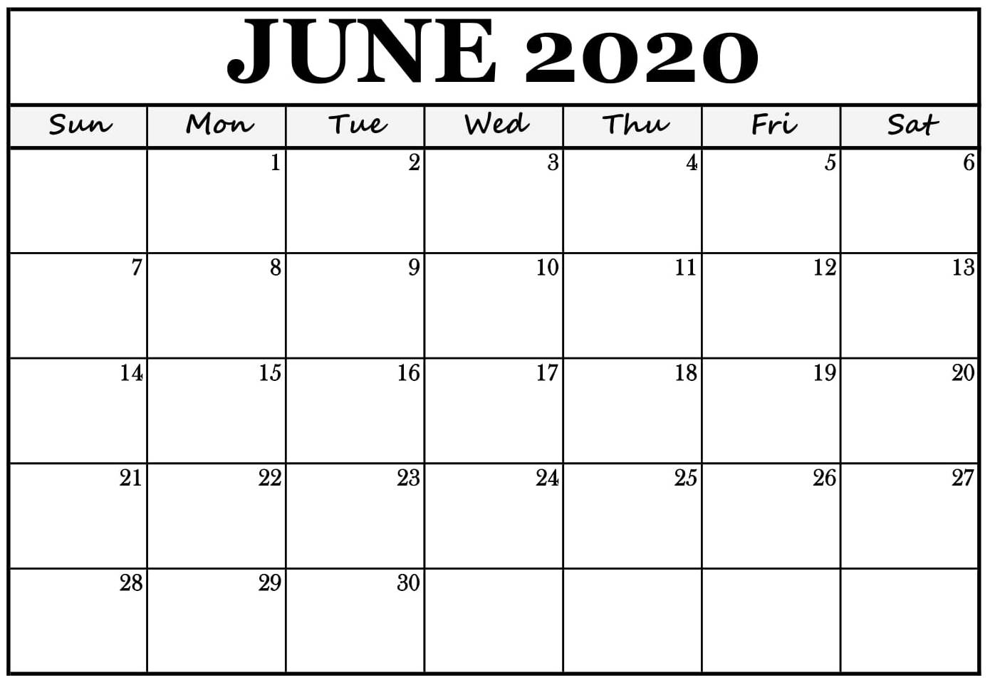 Print Calendar For June 2020 Daily Planner Template - Web