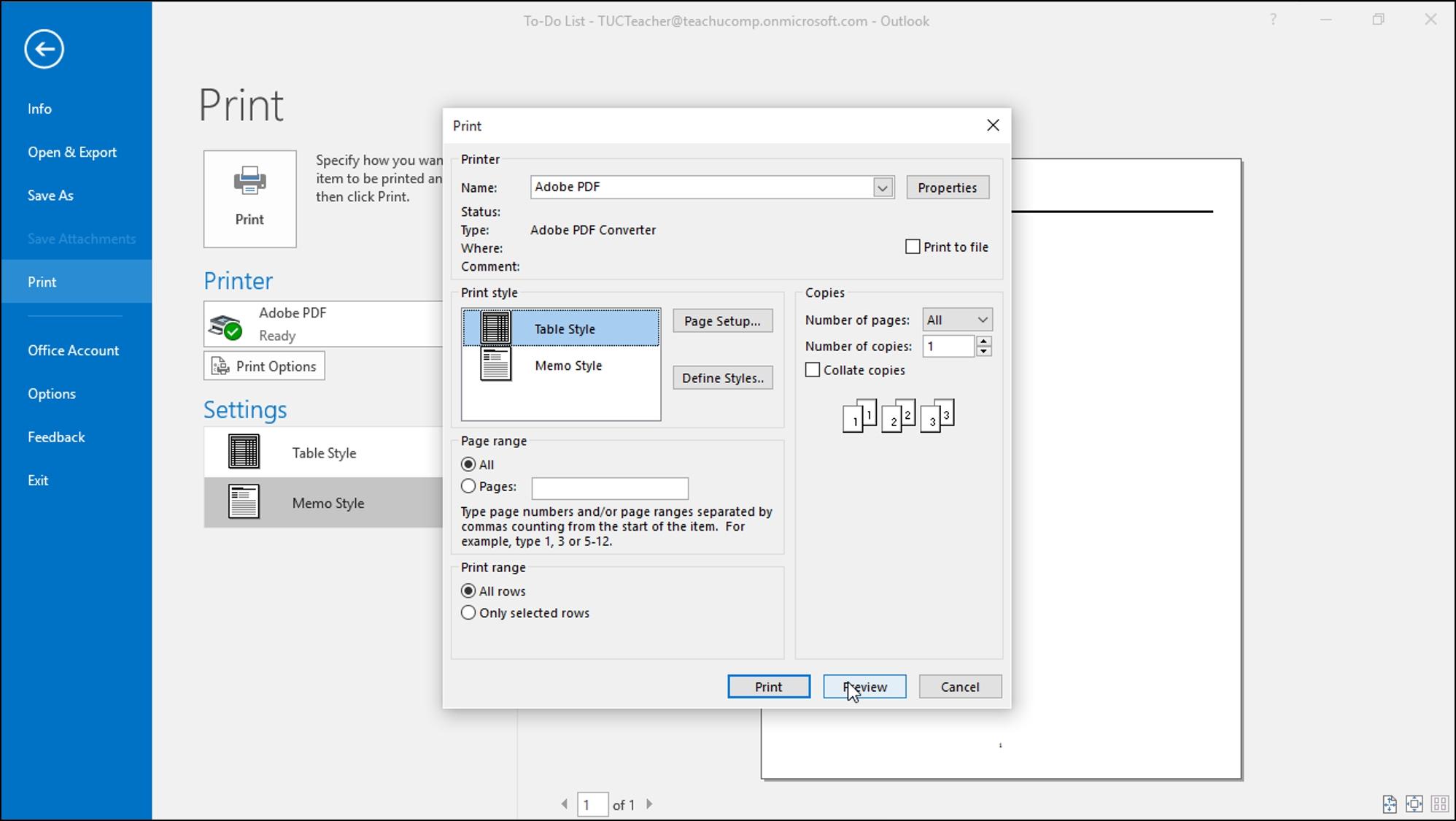 Print Tasks In Outlook - Tutorial - Teachucomp, Inc.