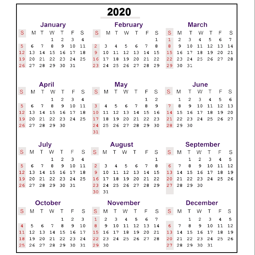 Printable 2020 Calendar With Week Numbers | Monthly