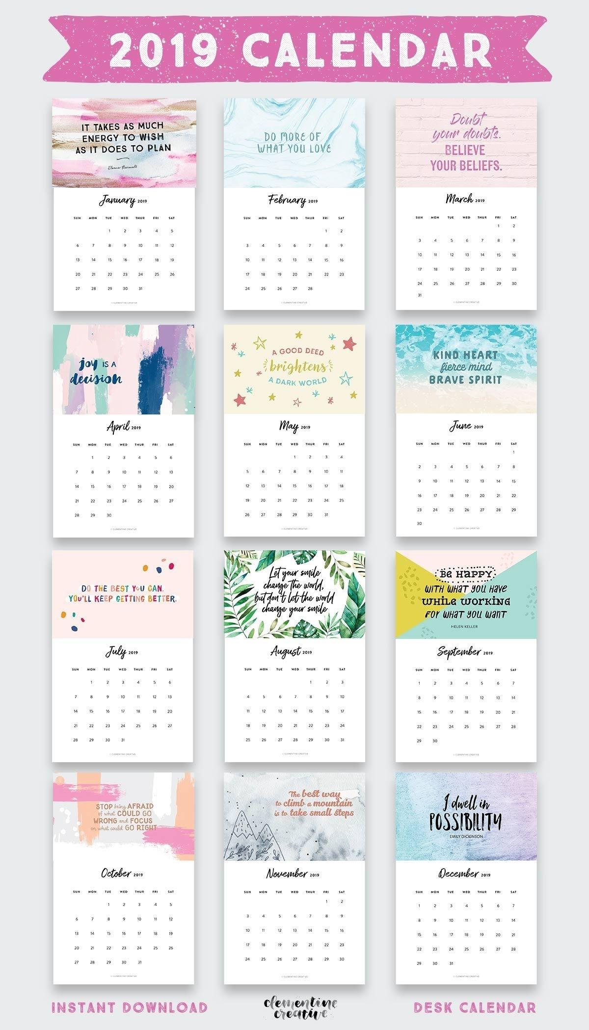 Printable 2020 Inspirational Quotes Calendar (+ Free Bonus