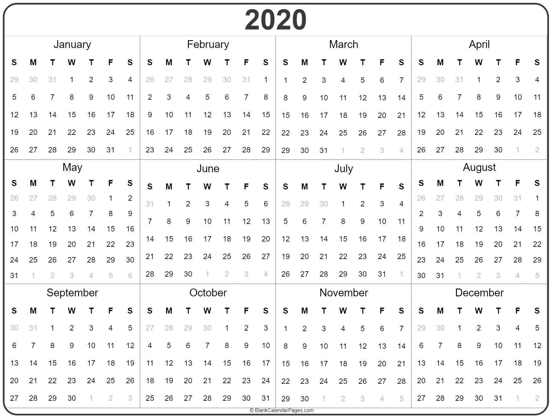 Printable 2020 Yearly Calendar Di 2020 (Dengan Gambar)