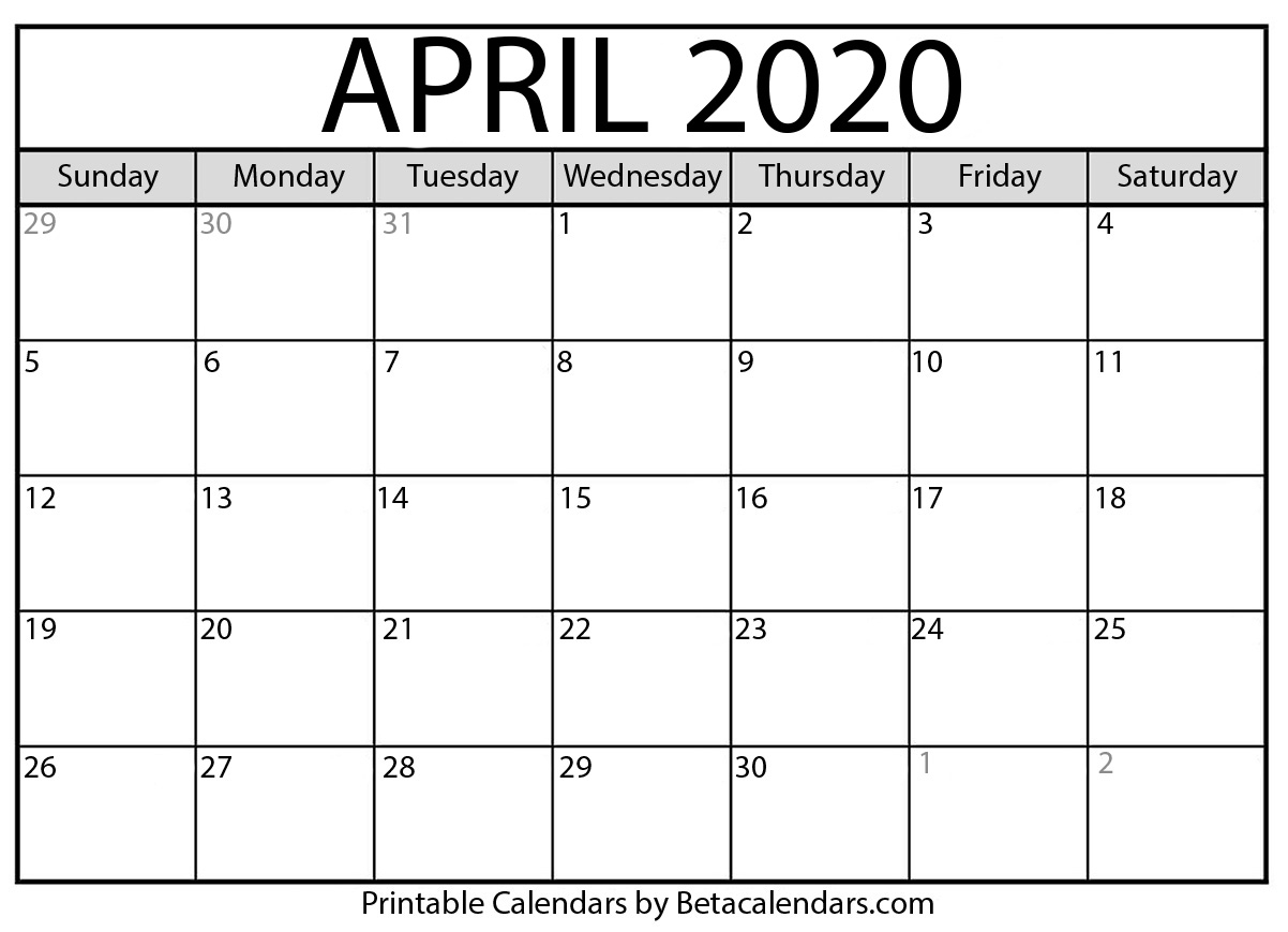 Printable April 2020 Calendar - Beta Calendars