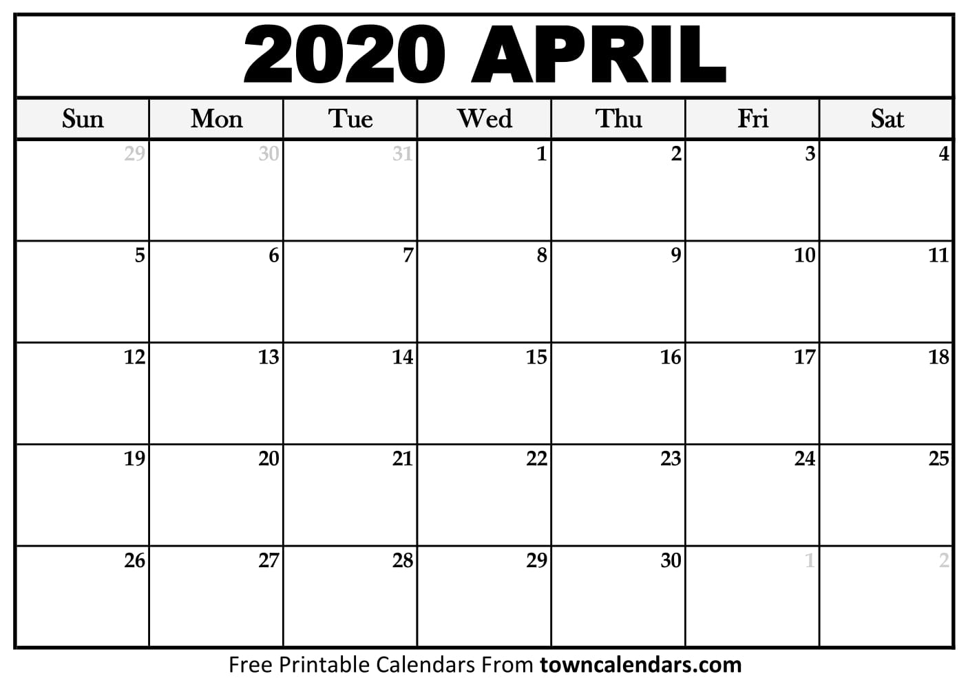 Printable April 2020 Calendar - Towncalendars