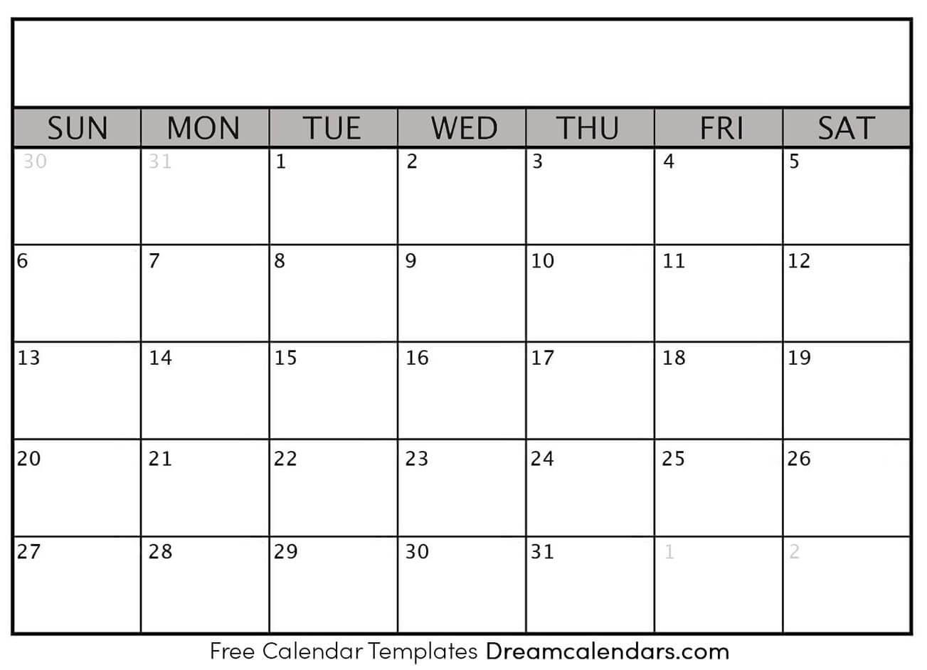 Printable Blank Calendar 2020 | Dream Calendars