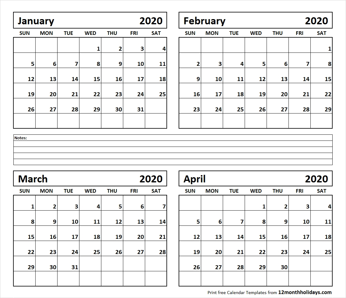 Printable Blank Four Month January February March April 2020