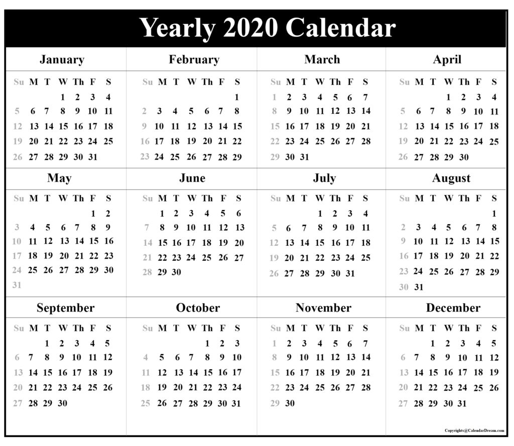 Printable Blank Yearly 2020 Calendar Template [Pdf