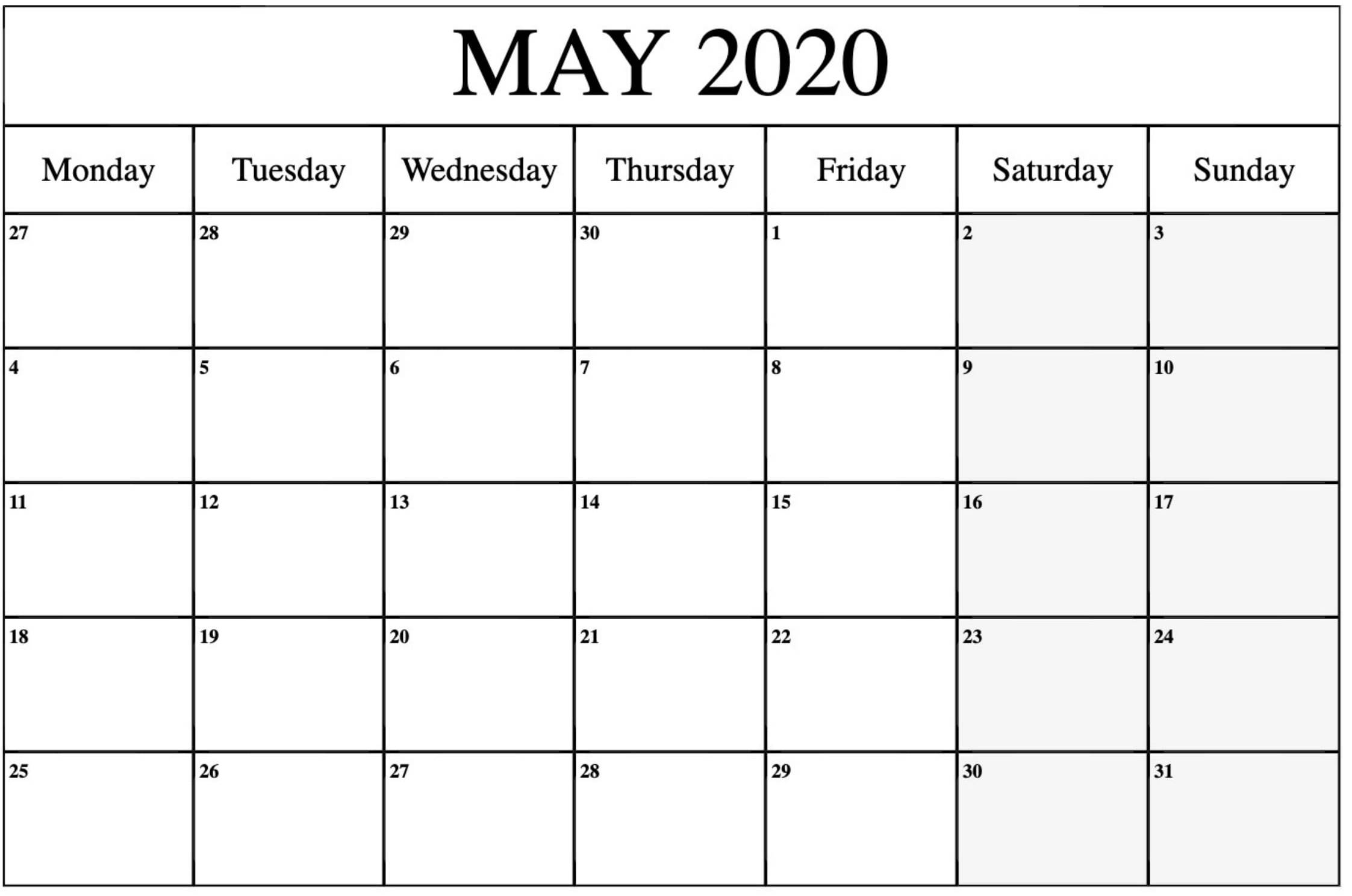 Printable Calendar 2020 May Notes With Holidays - All Day