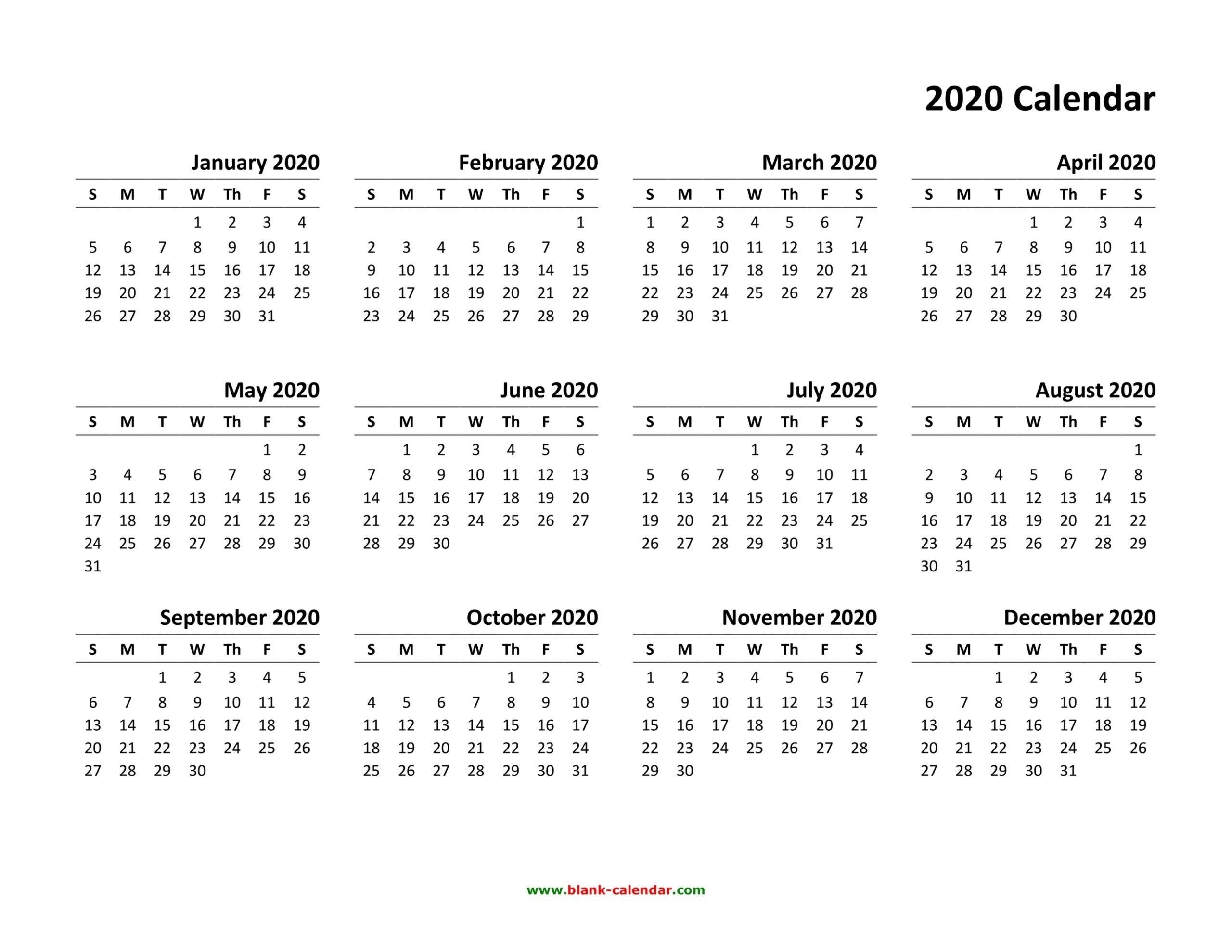 Printable Calendar 2020 Pdf Di 2020