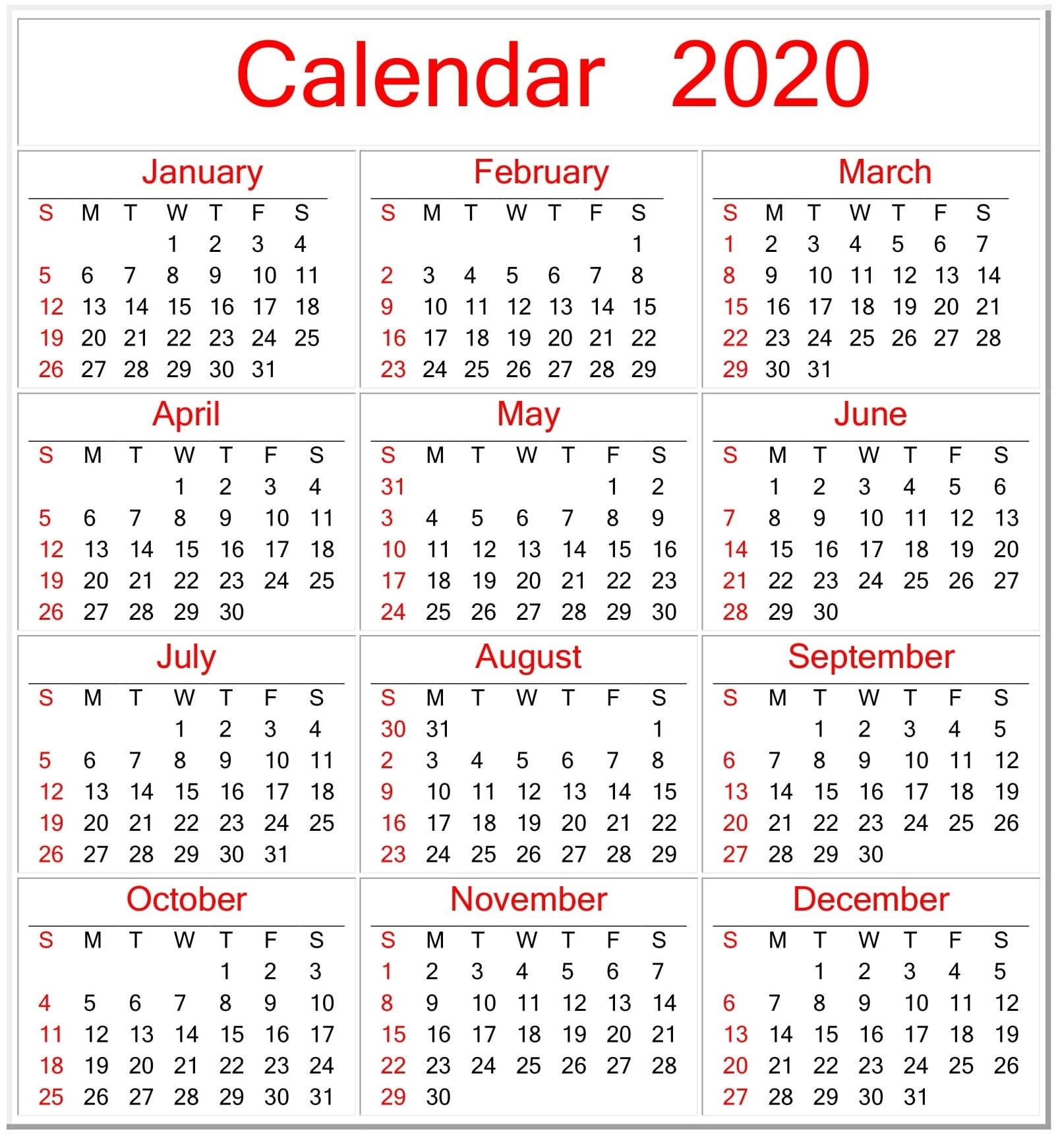 Printable Calendar 2020 Pdf Template - Free Latest Calendar