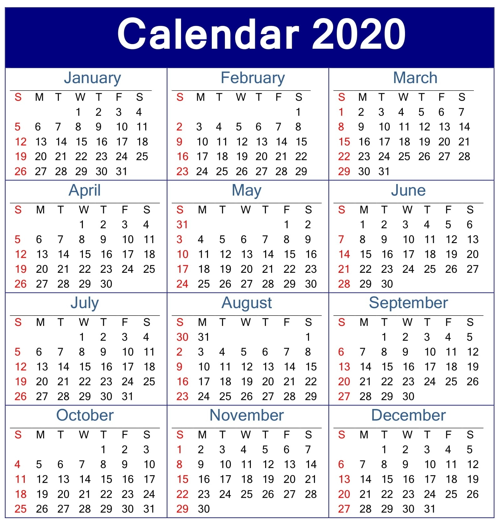 Printable Calendar 2020 Pdf Template - Free Latest Calendar