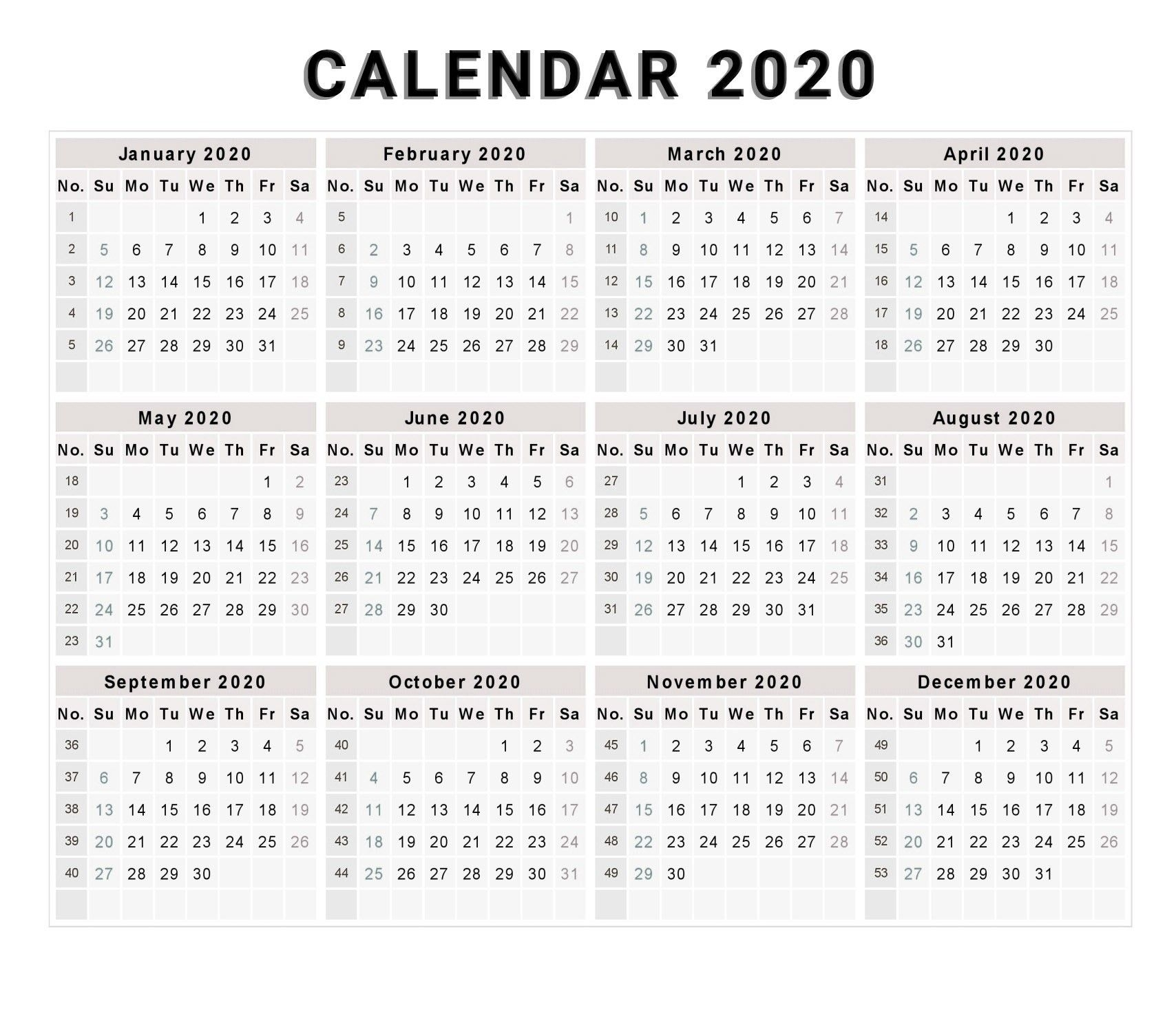 Printable Calendar 2020 With Week Numbers | Monthly