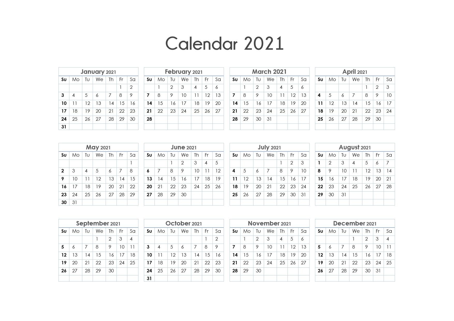 Printable Calendar 2021 One Page, Yearly Calendar, Blank