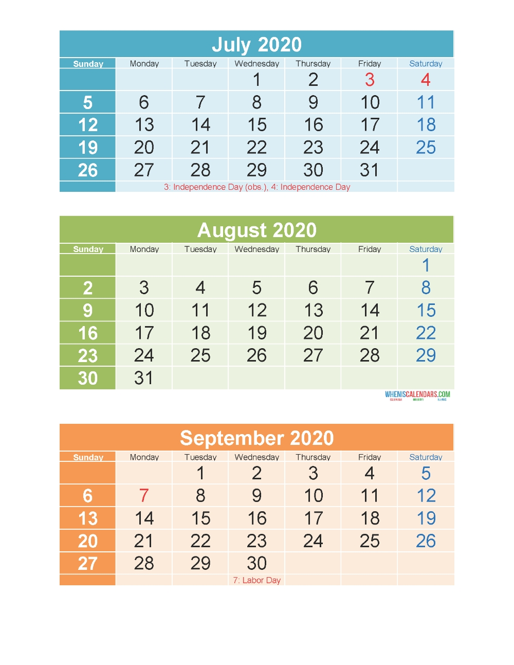 Printable Calendar July August September 2020 3 Months Per