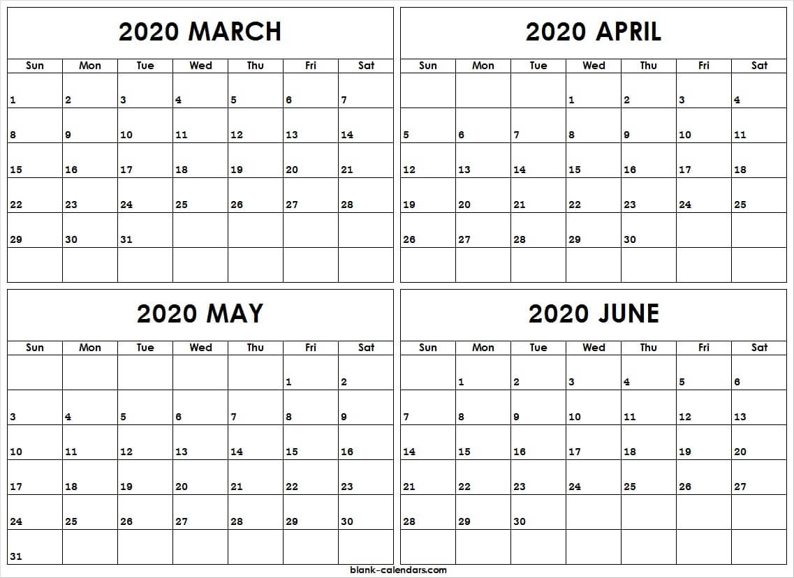 Printable Calendar March To June 2020   Pdf Template