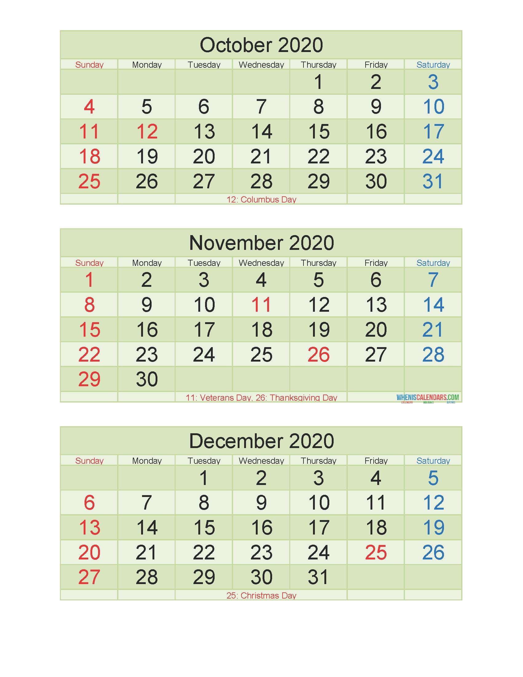 Printable Calendar October November December 2020 3 Months