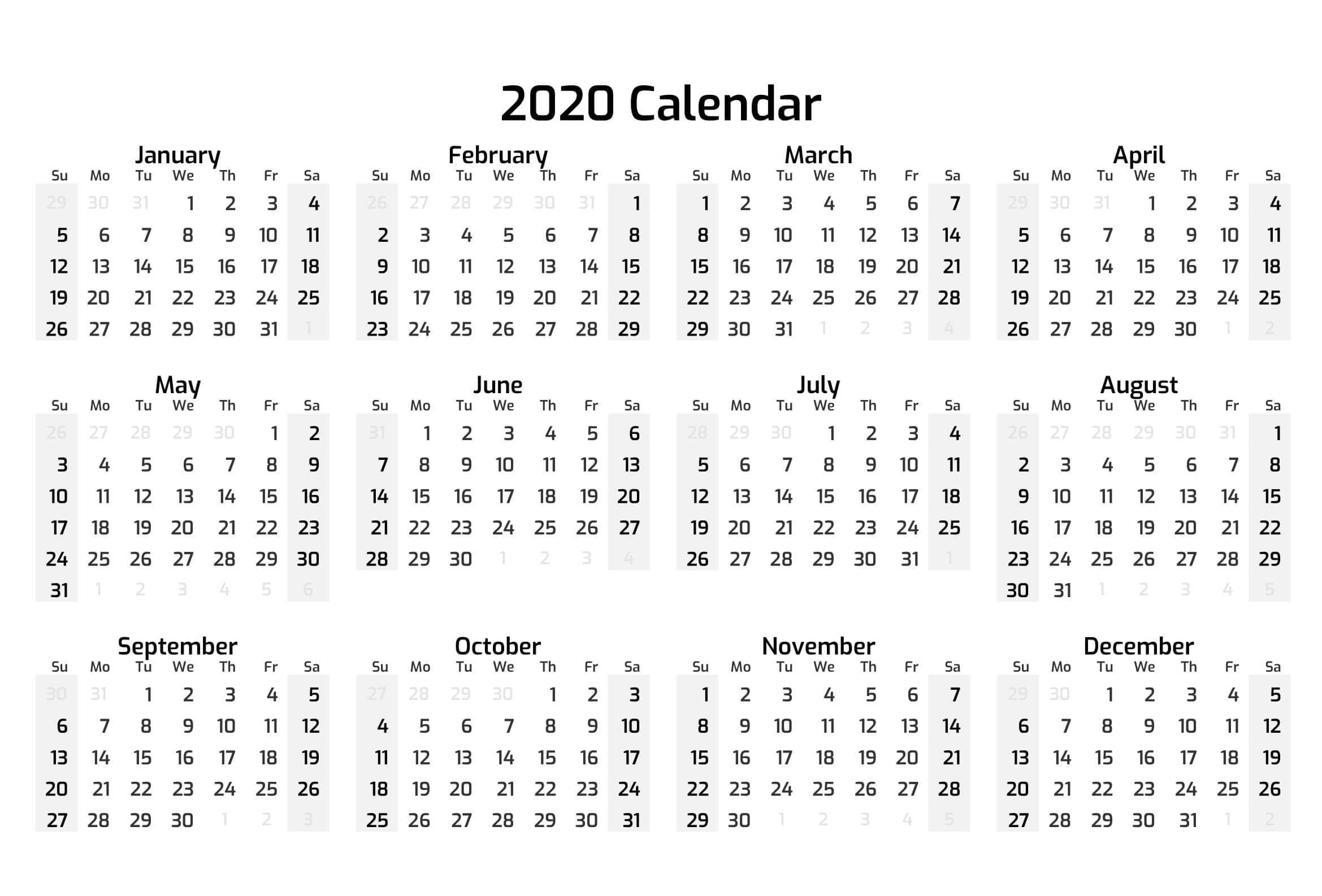 Printable Calendar Year 2020 Holidays | Free Printable