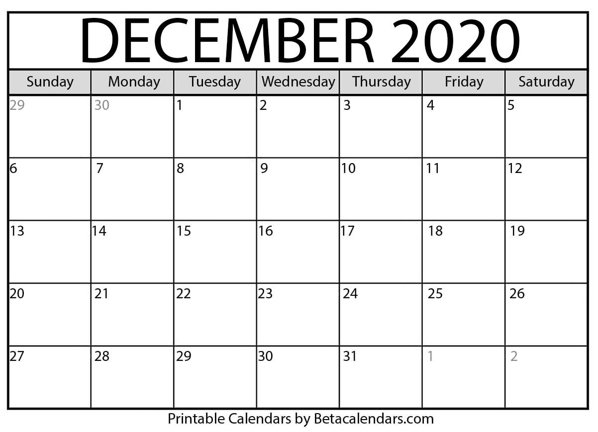 Printable December 2020 Calendar - Beta Calendars