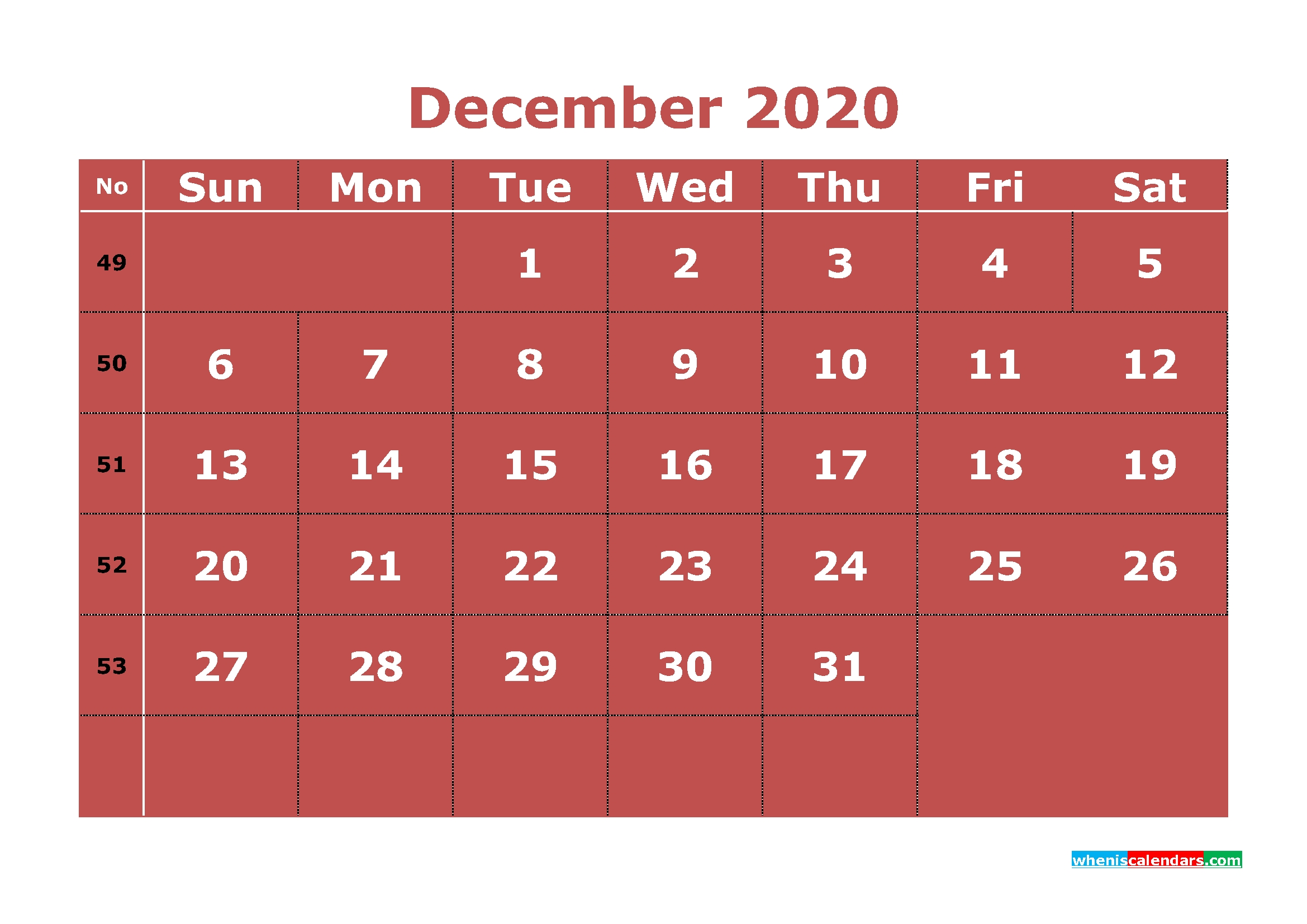 Printable December 2020 Calendar With Week Numbers | Free