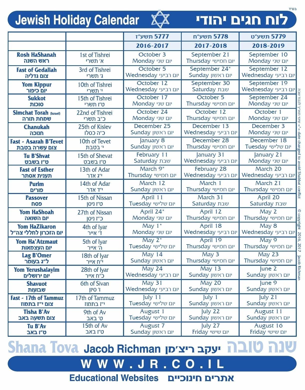 Printable Hebrew Calendar 5777 | Calendar Printables Free