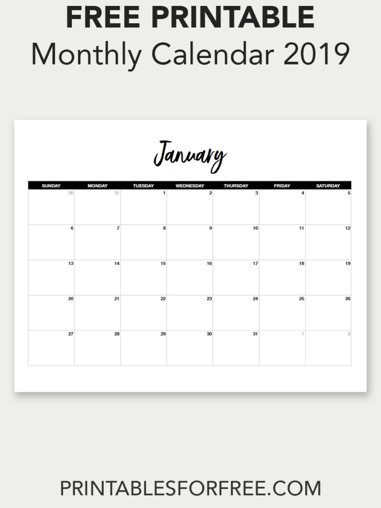 Printable January 2019 Calendar (Minimal (With Images