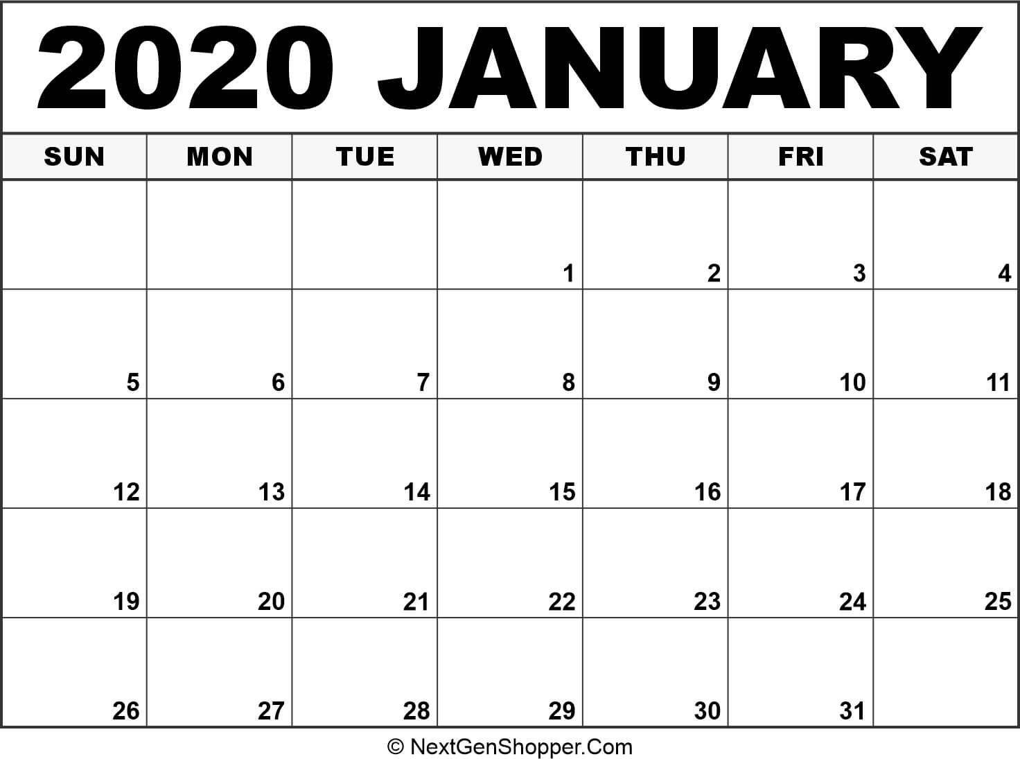 Printable January 2020 Calendar Template - Task Management