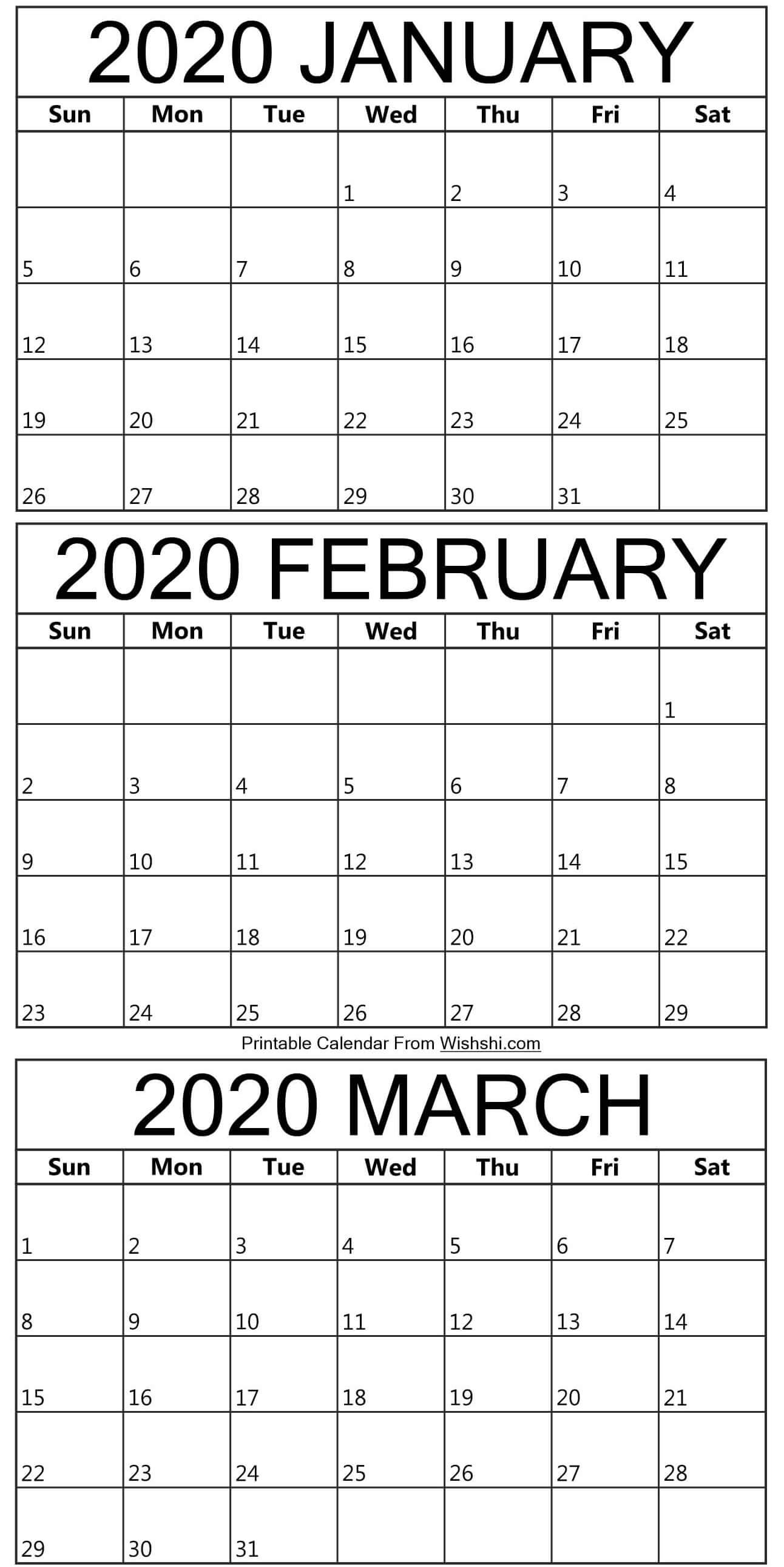 Printable January To March Calendar 2020 - Free Printable