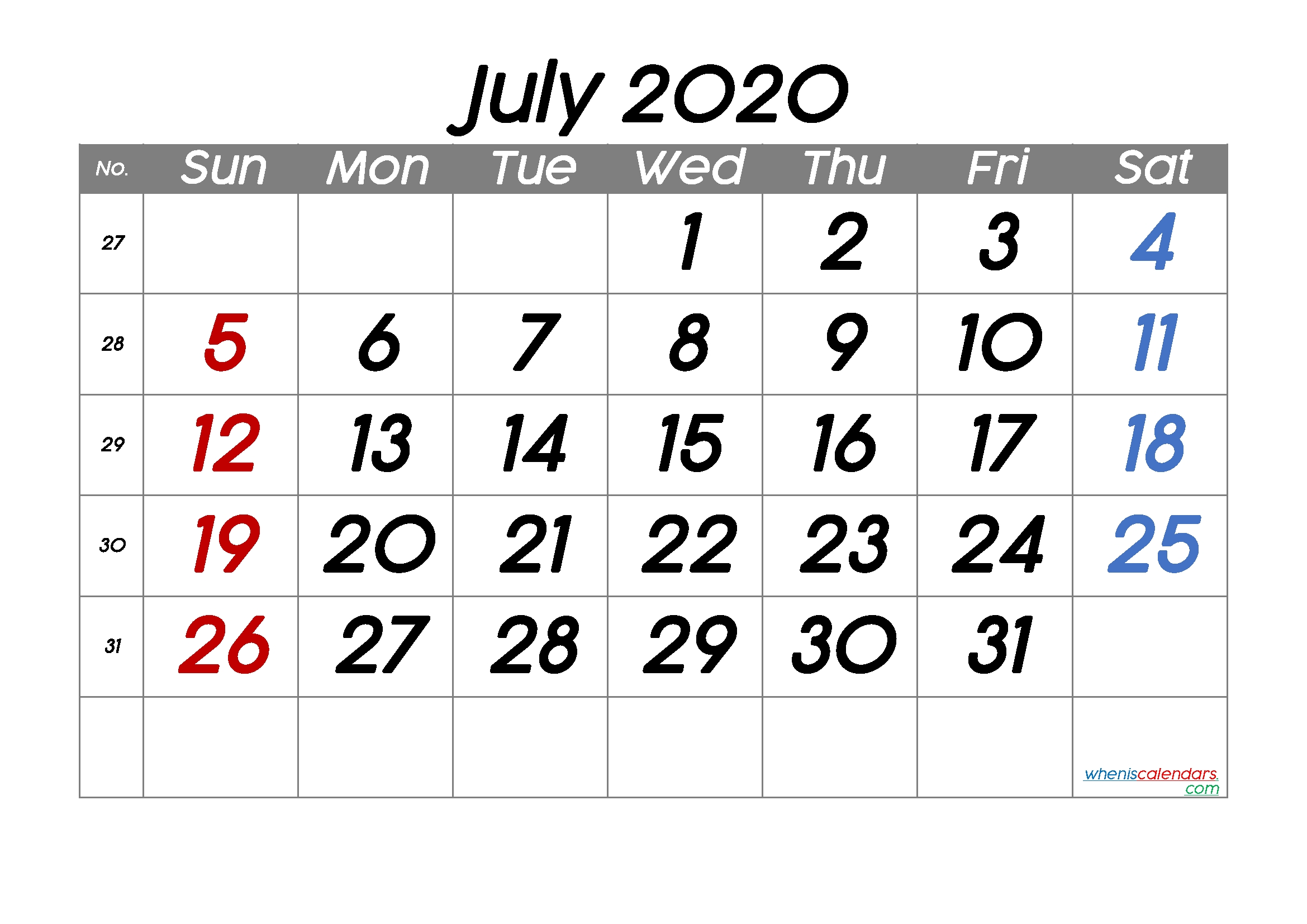 Printable July 2020 Calendar – 6 Templates – Free Printable