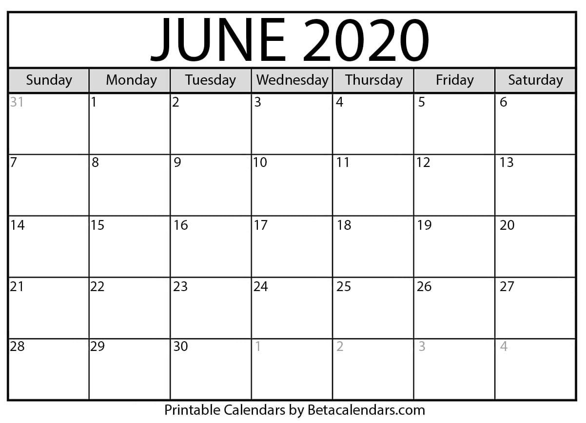 Printable June 2020 Calendar - Beta Calendars