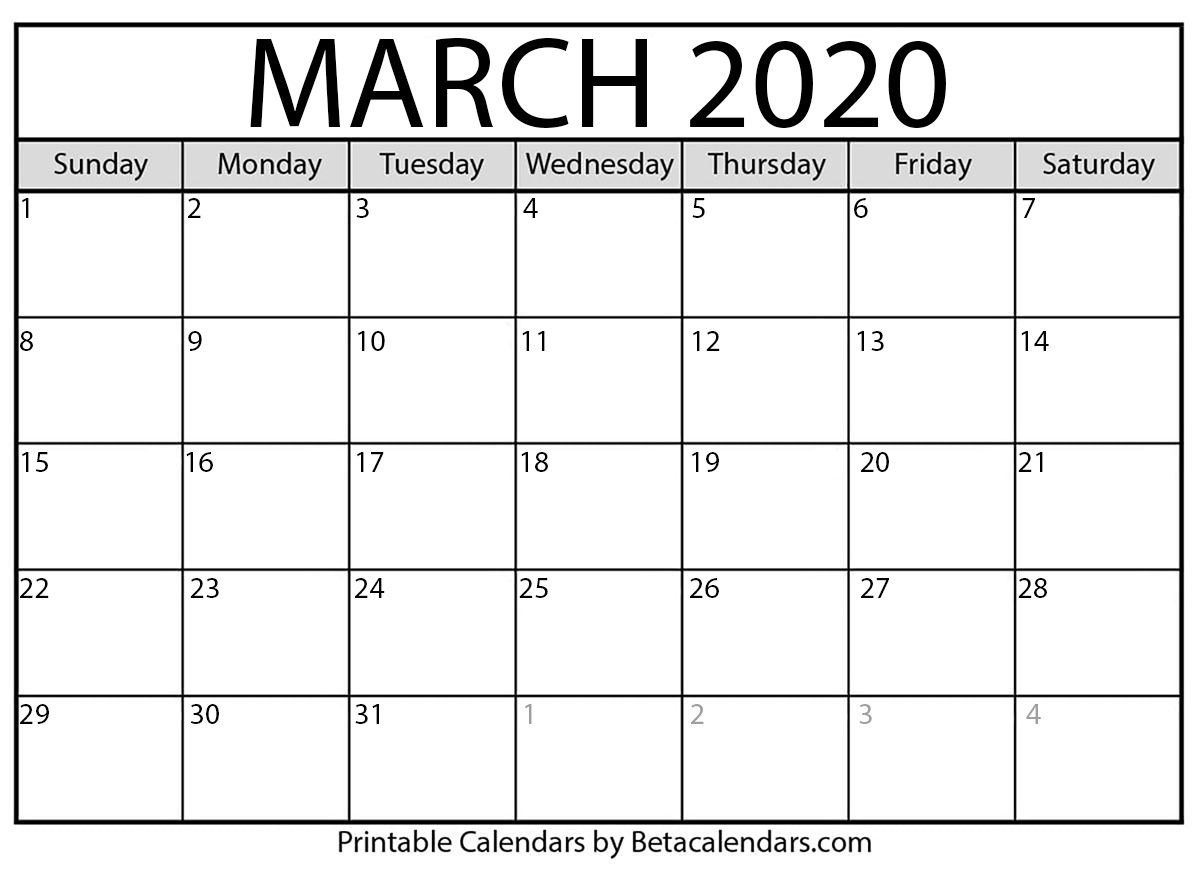 Printable March 2020 Calendar - Beta Calendars