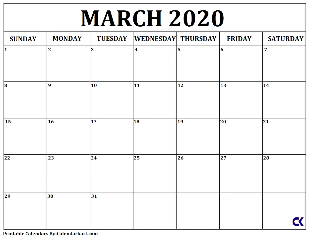 Printable March 2020 Calendar » Calendarkart