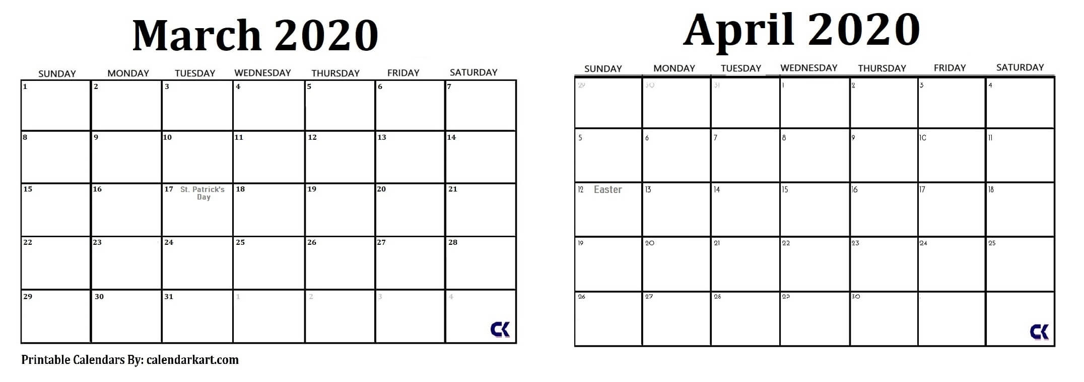Printable March April 2020 Calendar » Calendarkart