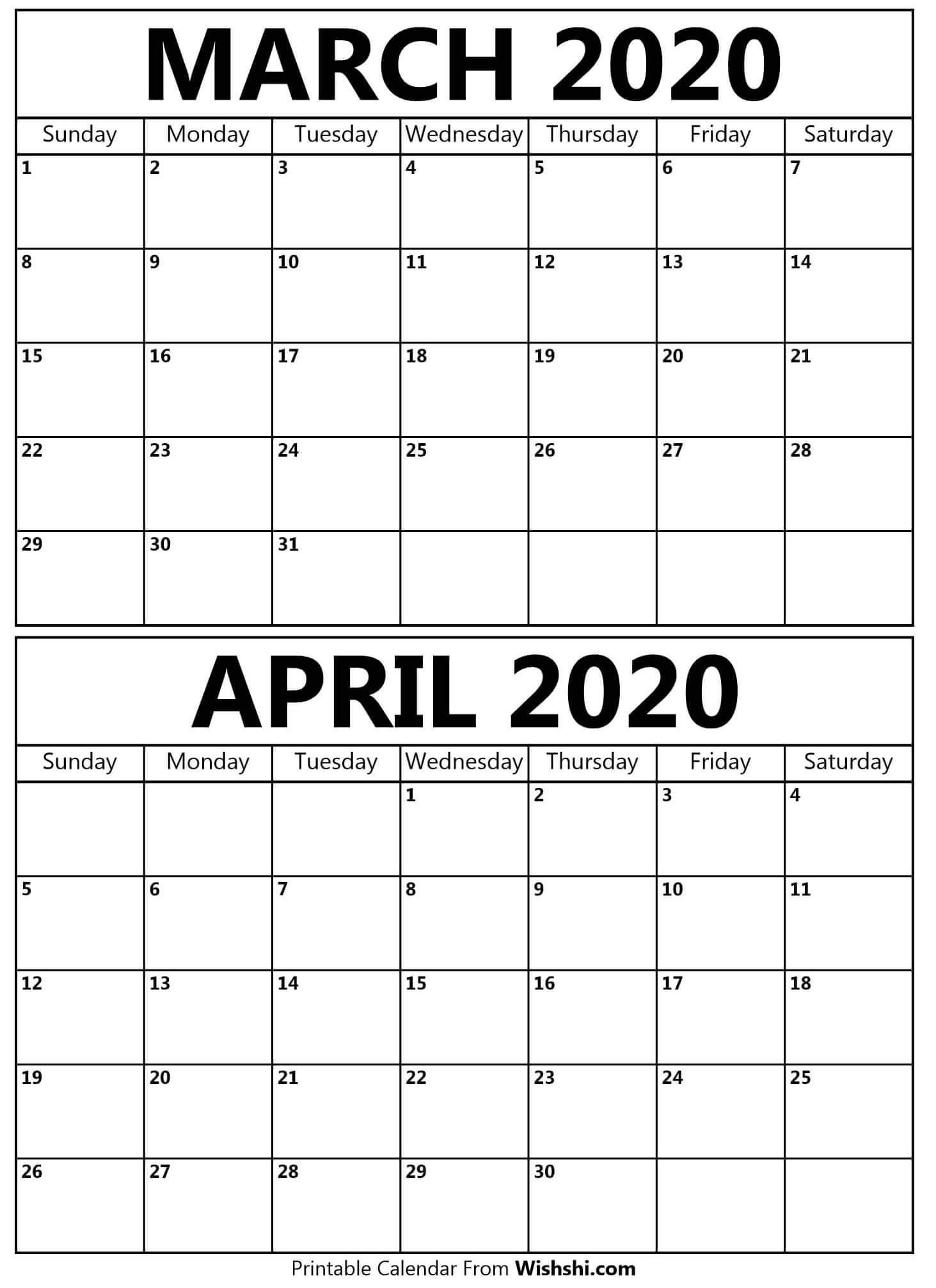 Printable March April 2020 Calendar - Free Printable