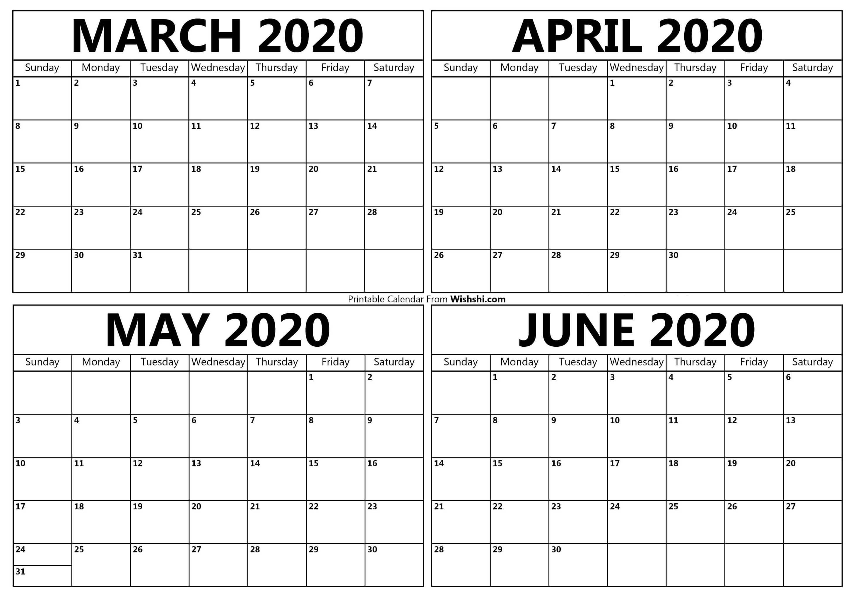 Printable March To June 2020 Calendar - Free Printable
