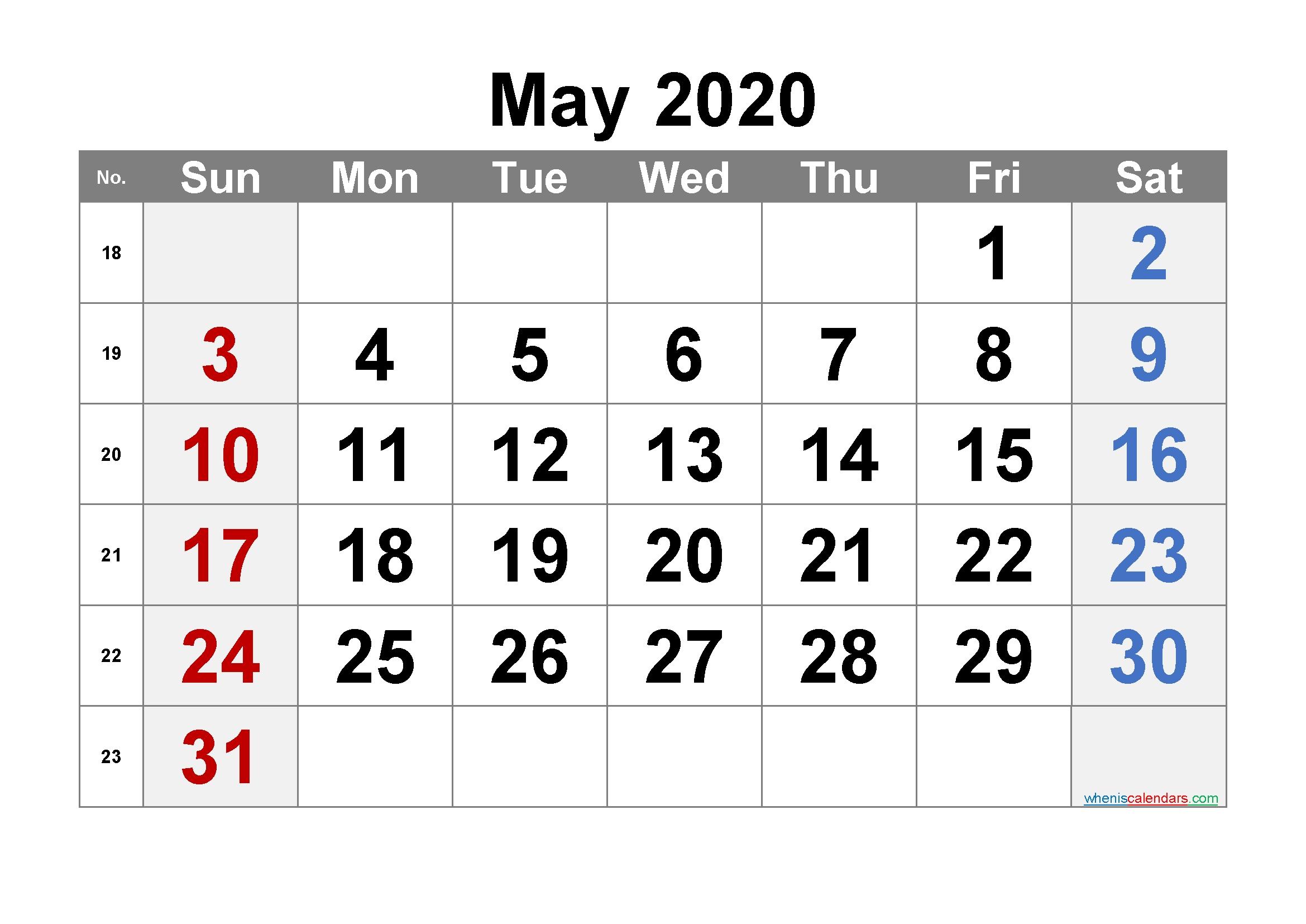 Printable May 2020 Calendar – 6 Templates – Free Printable