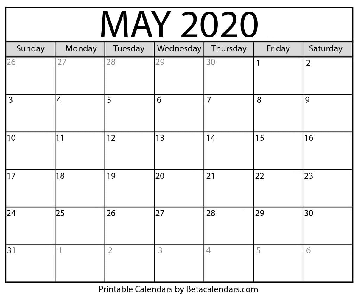 Printable May 2020 Calendar - Beta Calendars