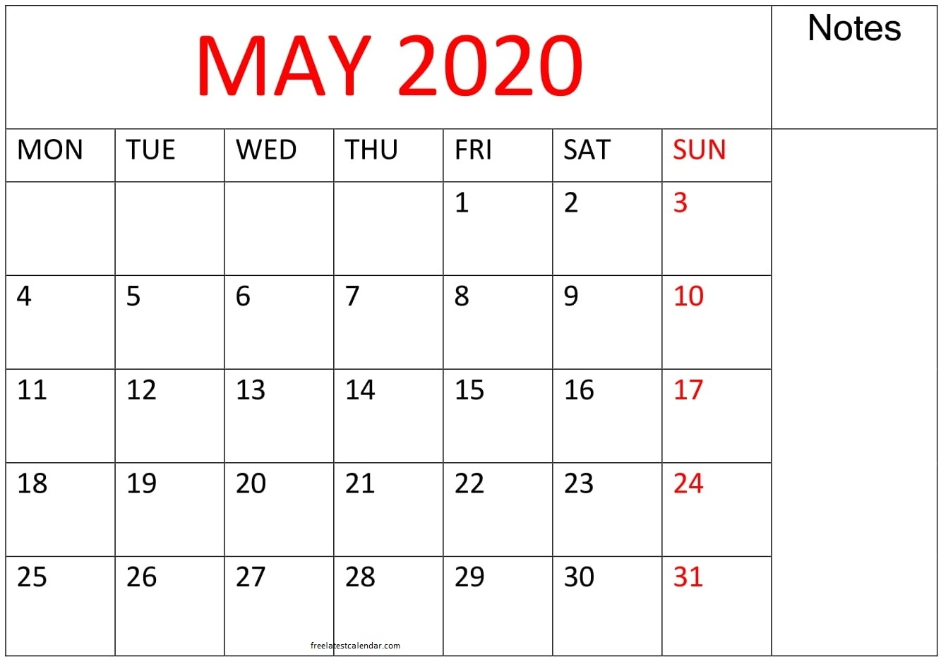 Printable May 2020 Calendar Large Print - Free Latest