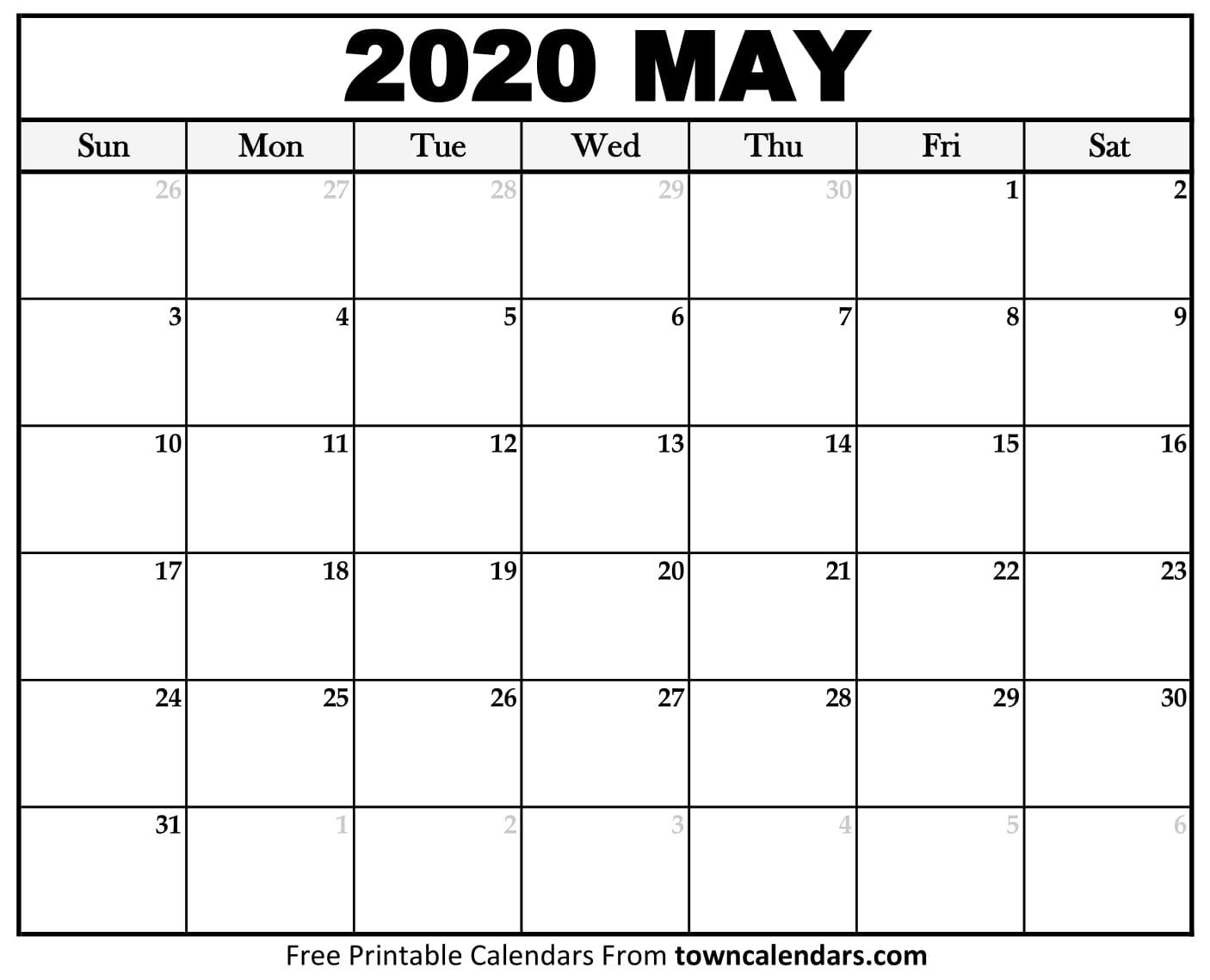 Printable May 2020 Calendar - Towncalendars