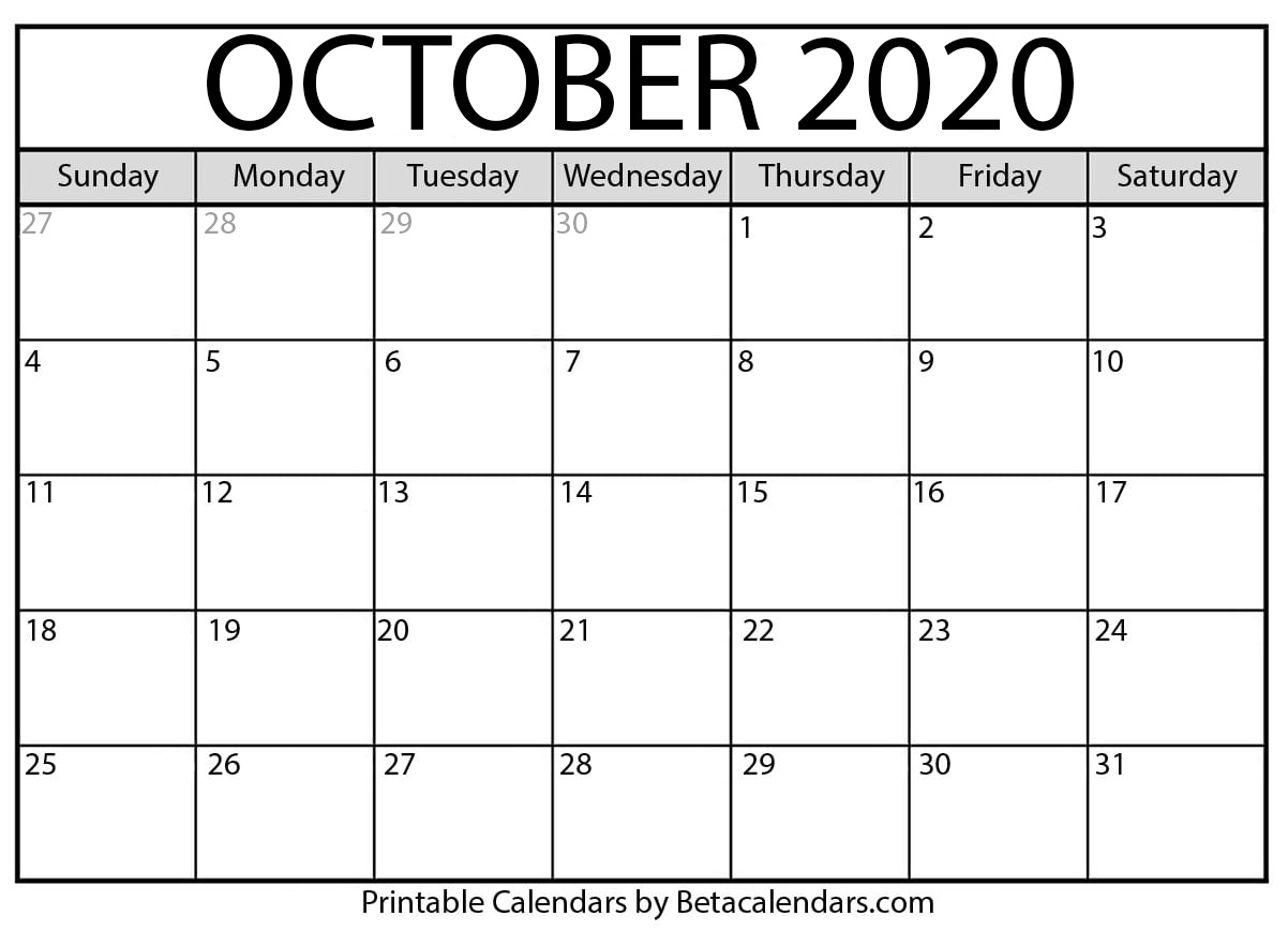 Printable October 2020 Calendar - Beta Calendars