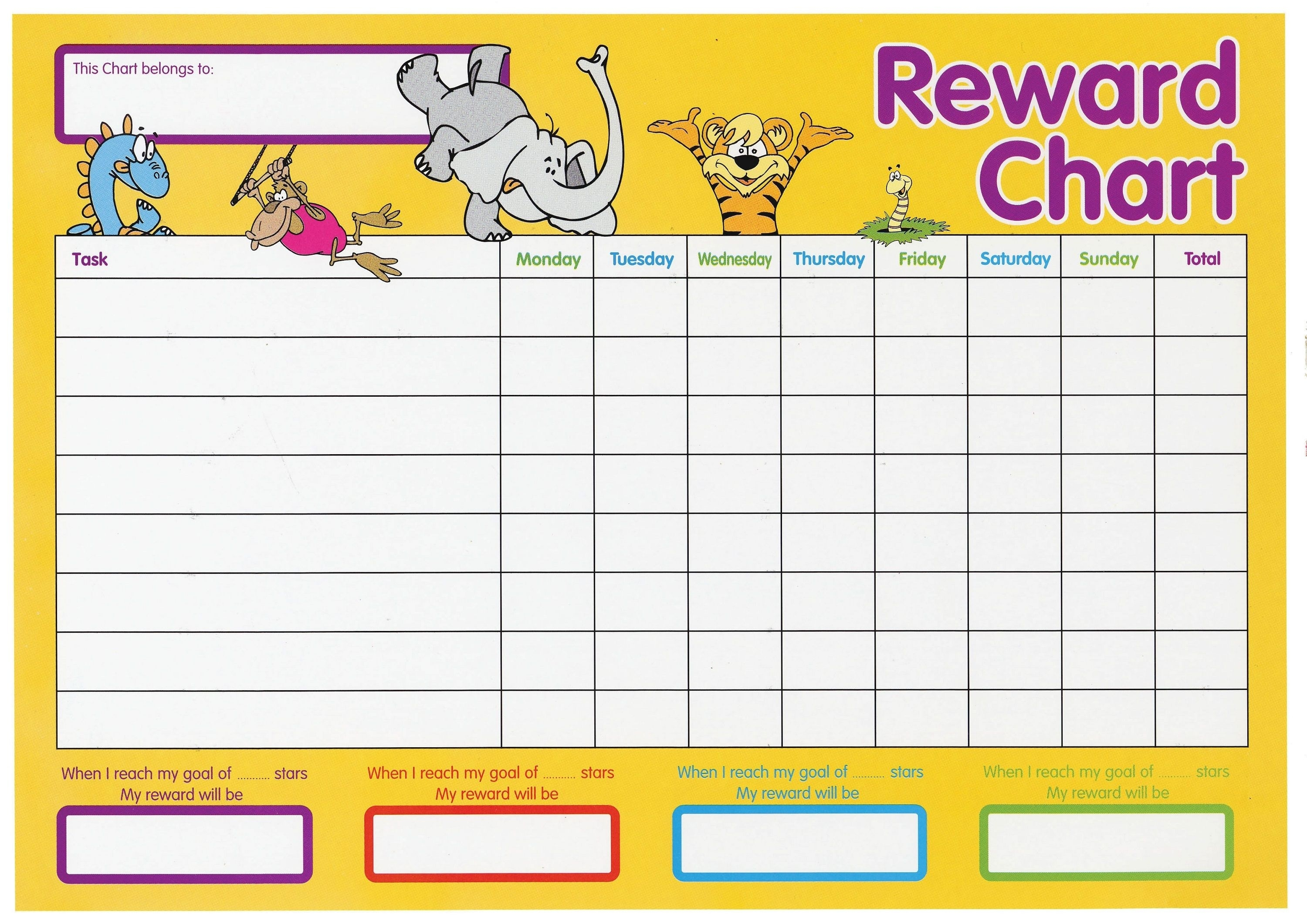 Printable Reward Chart Gorgeous And Colorful | Toddler