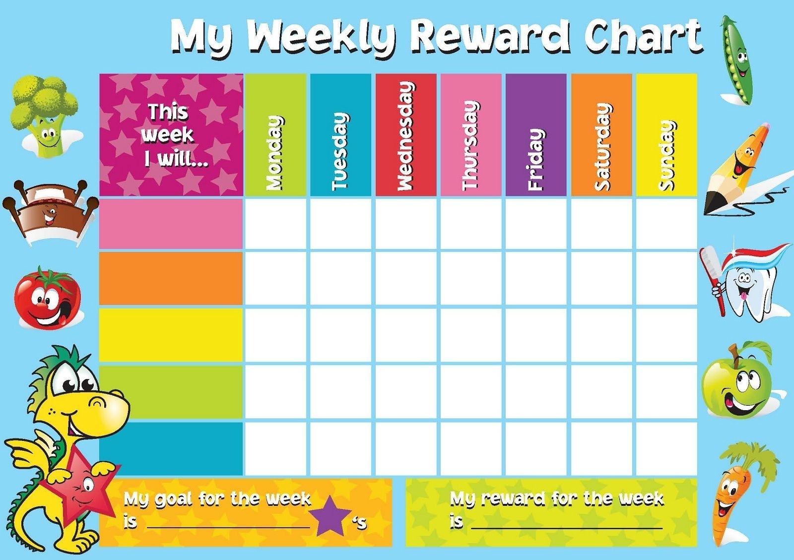 Printable Reward Chart Template (With Images) | Reward Chart