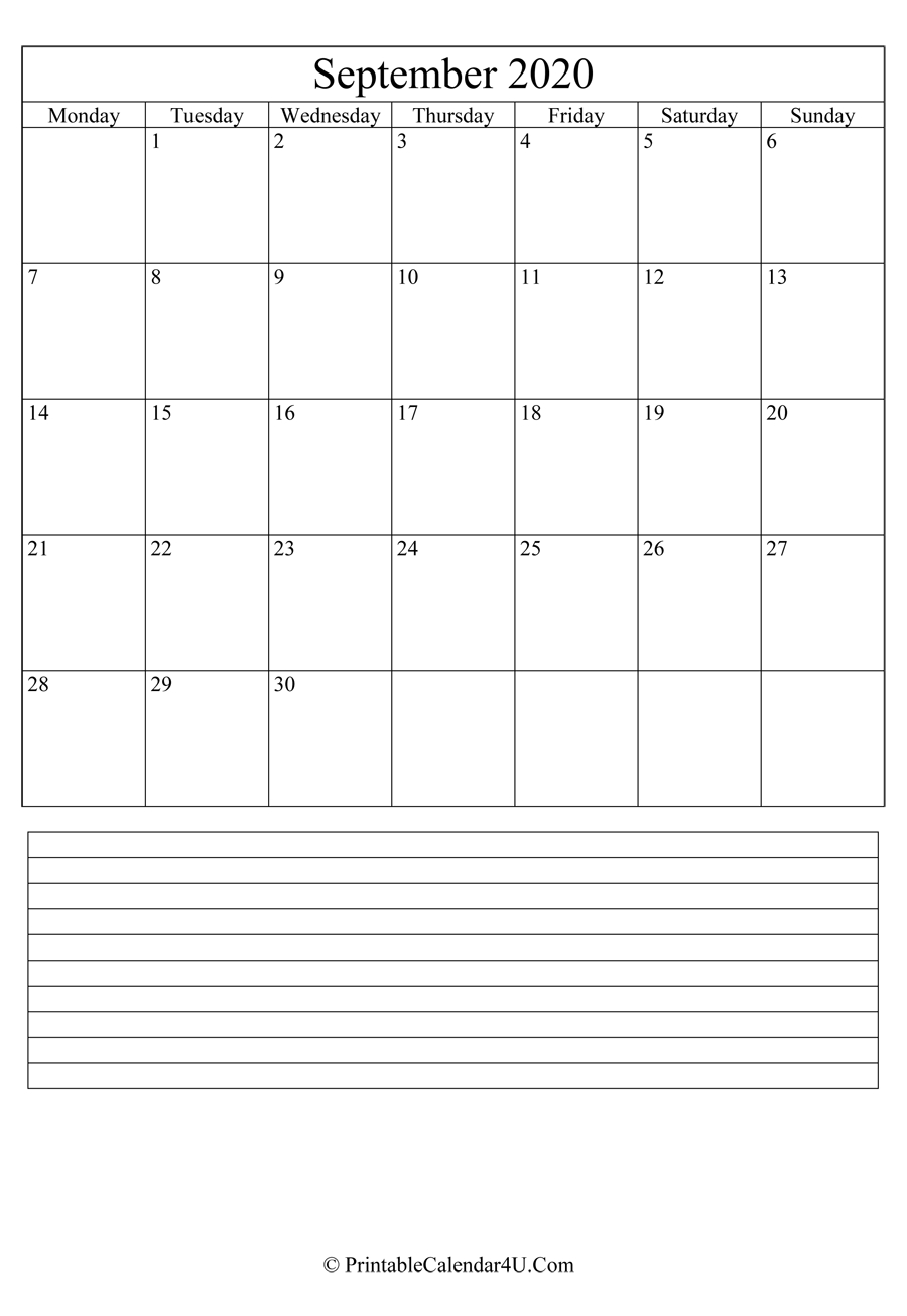 Printable September Calendar 2020 With Notes (Portrait)