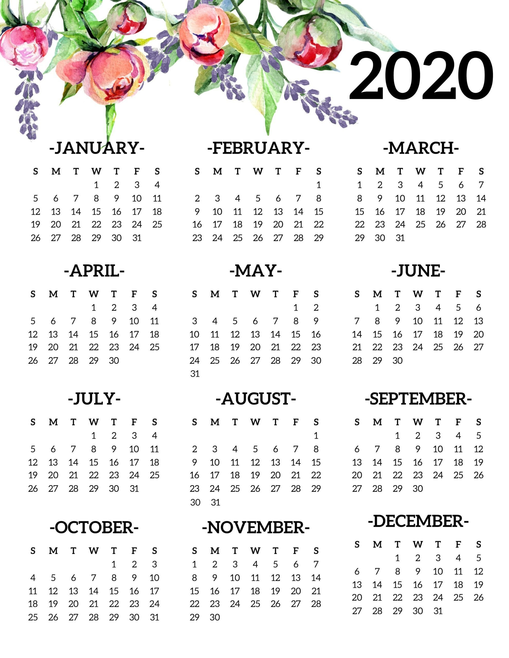Printable Yearly Calendars 2020 (With Images) | Printable