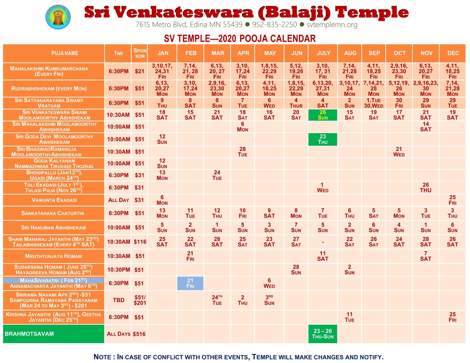 Puja Calendar 2020 | Sri Venkateswara (Balaji) Temple