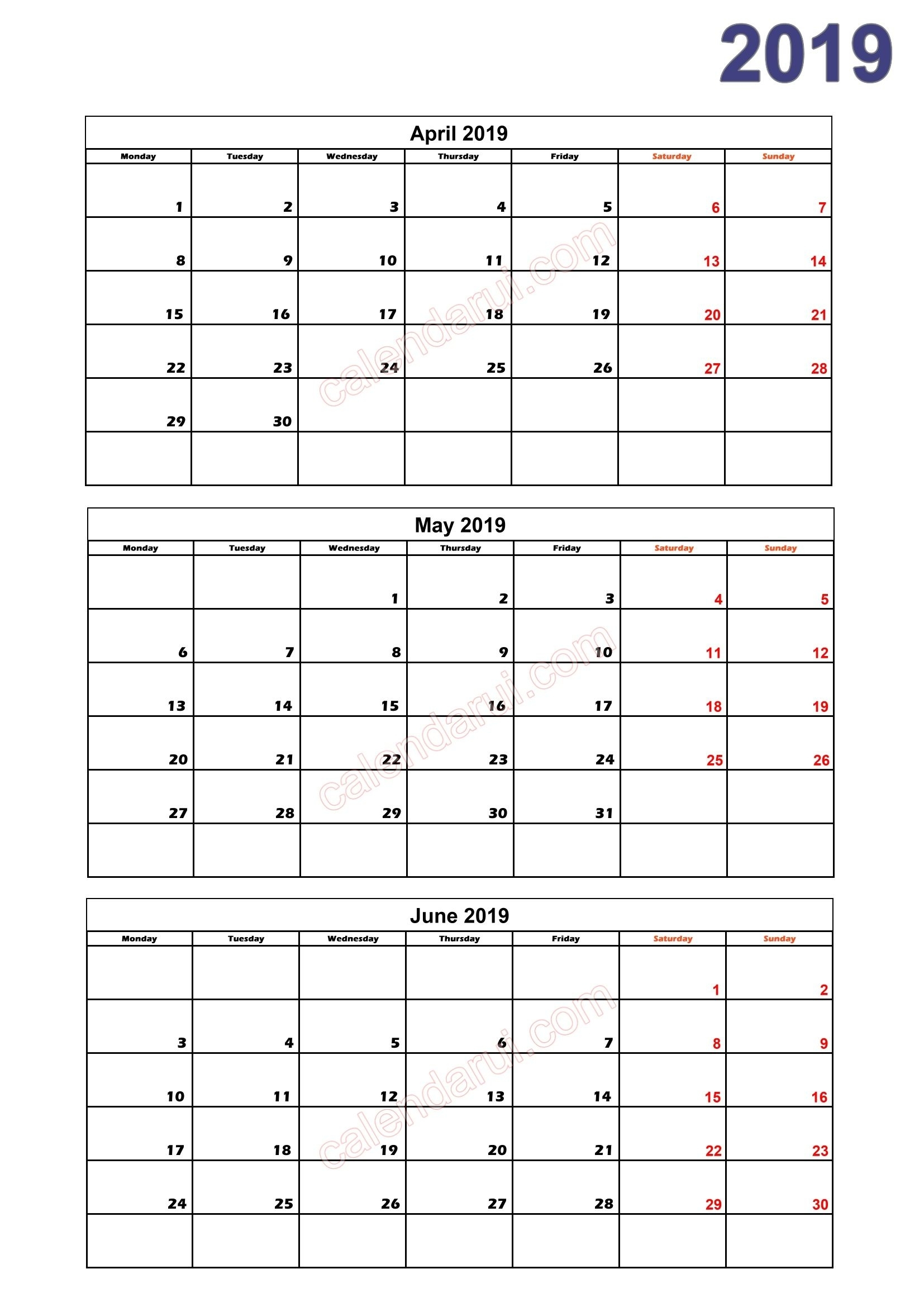Quarterly Calendar 2019 Printable Download Free (With Images