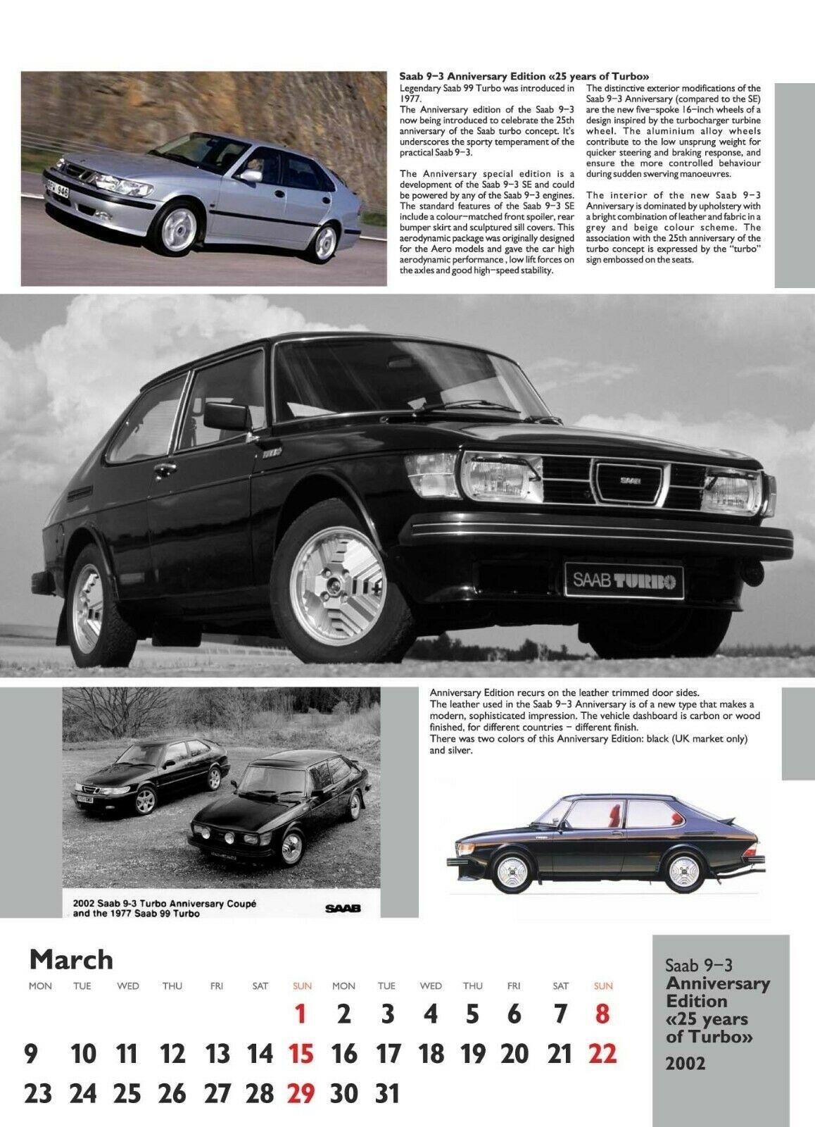 Saab Special Editions Calendar 2020, Saab 9-3 Og | Saab