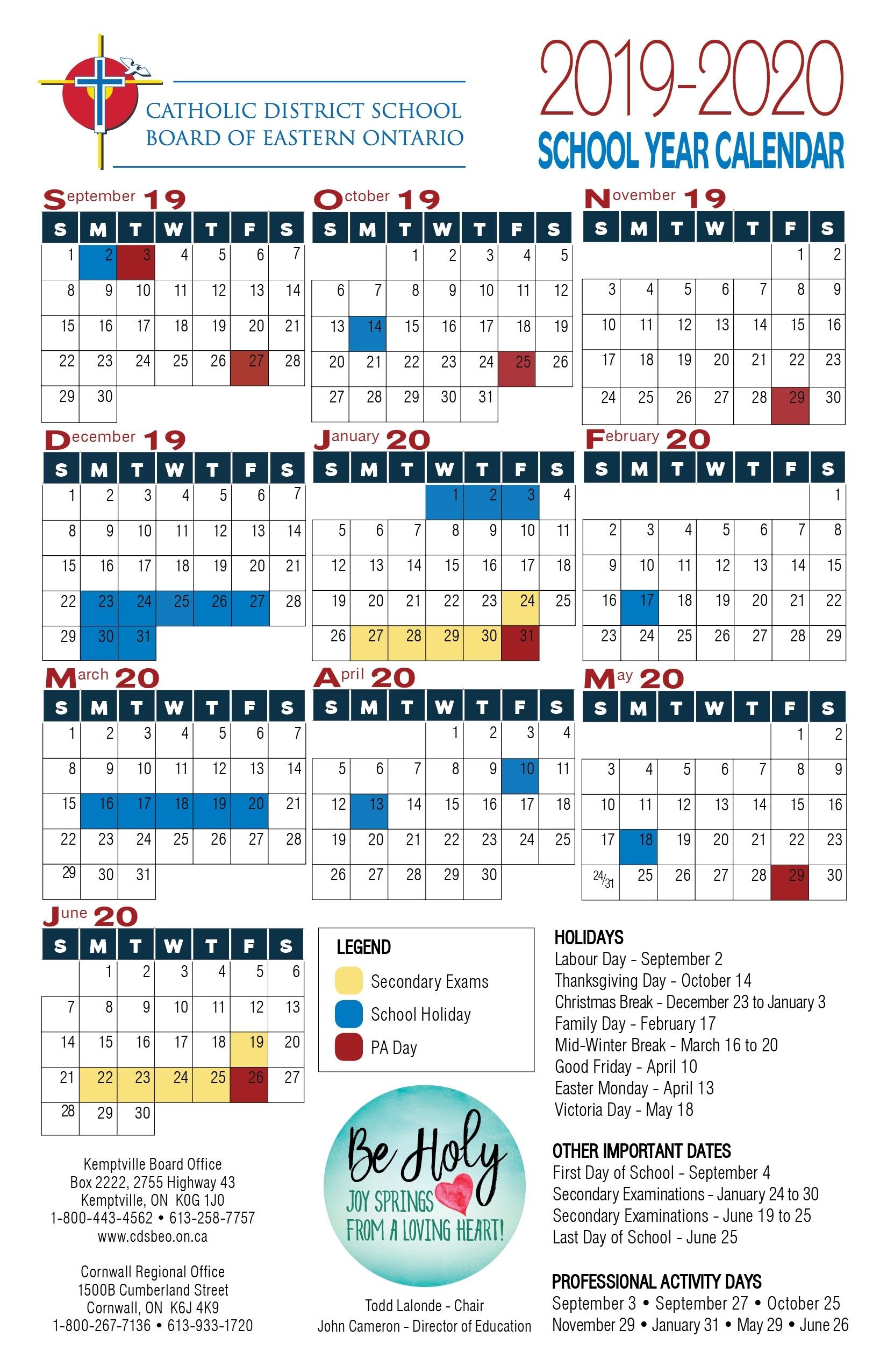 School Year Calendar | Catholic District School Board Of