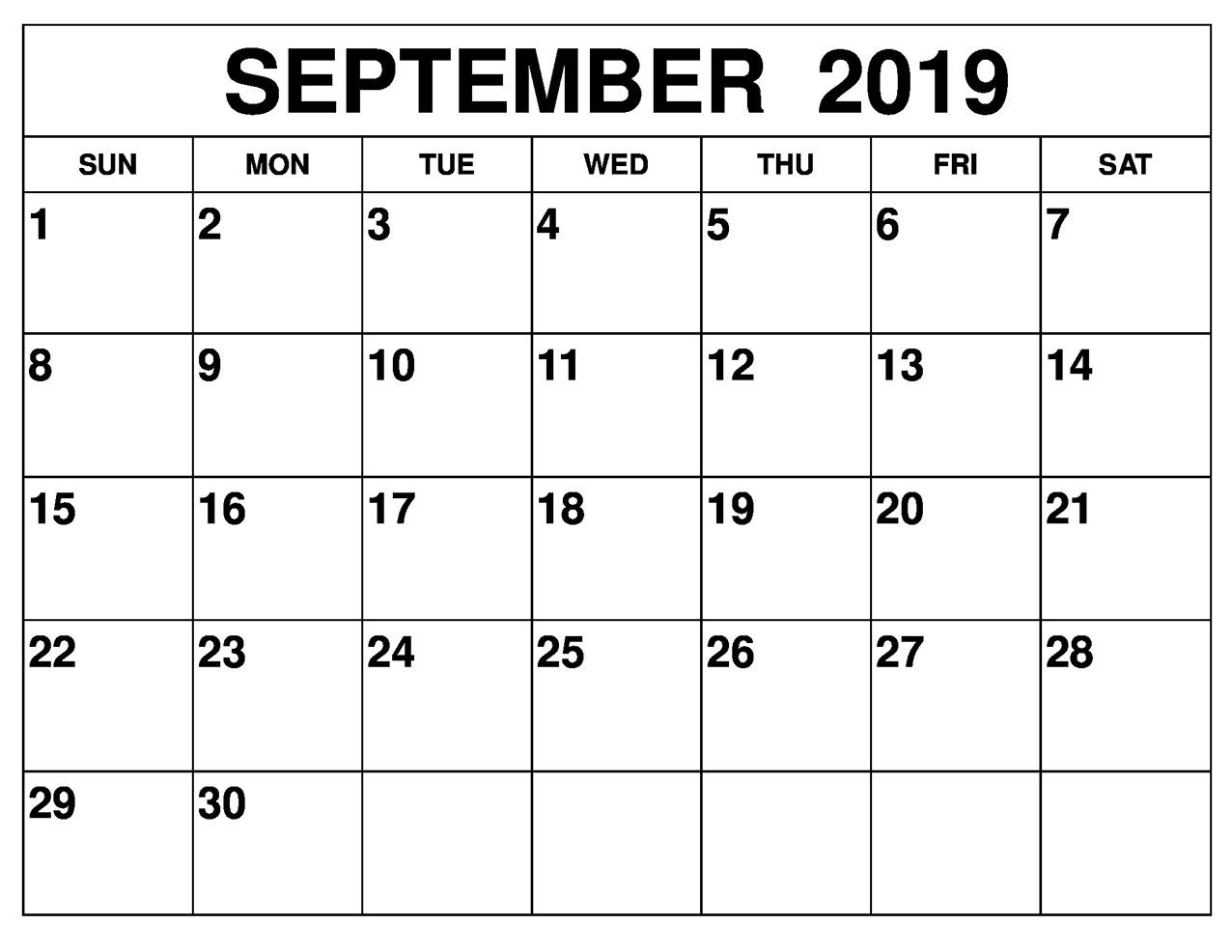 September 2019 Printable Calendar Landscape Pages - Latest