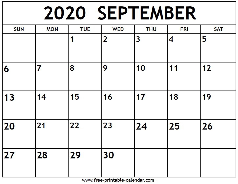 September 2020 Calendar - Free-Printable-Calendar